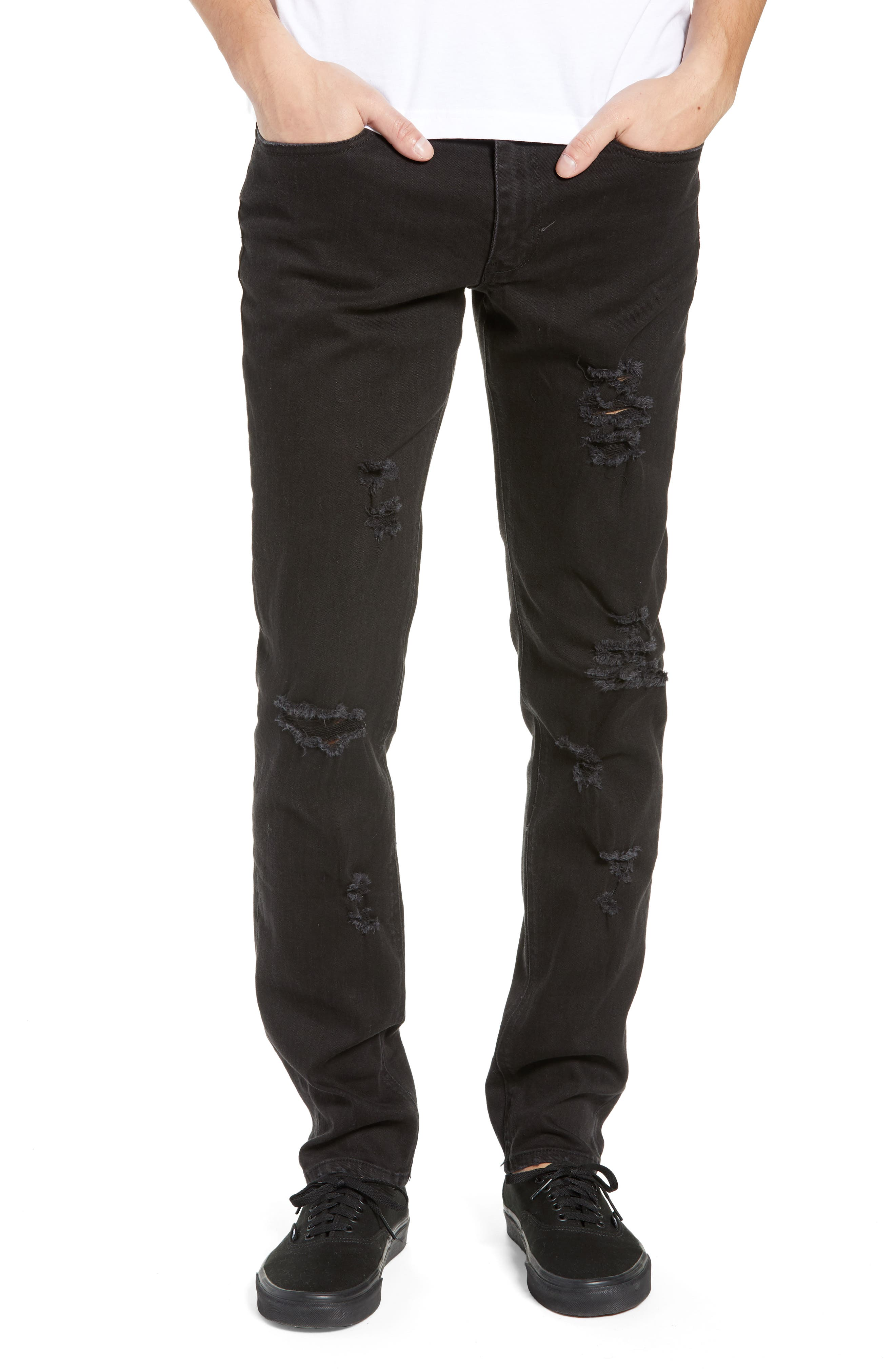 Shredded Slim Fit Jeans,                         Main,                         color, BLACK STONE WASH