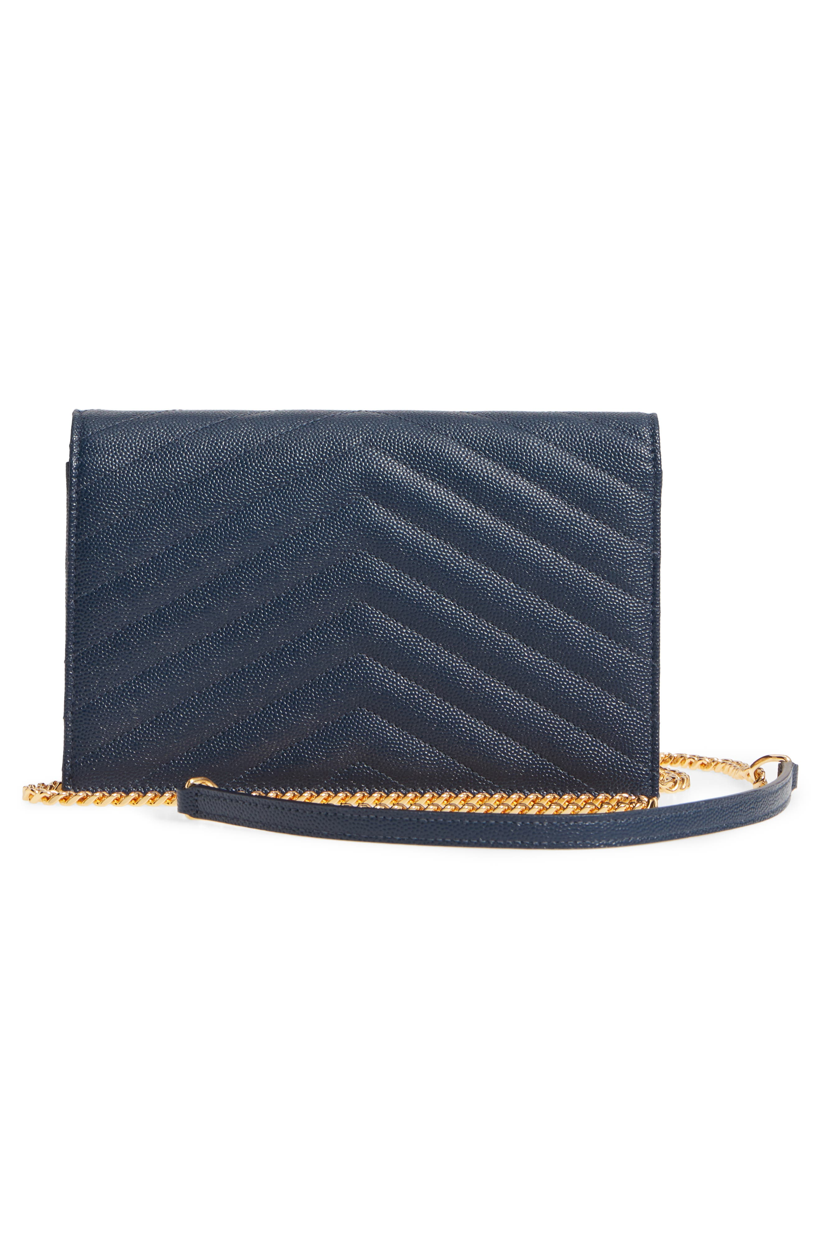 'Small Mono' Leather Wallet on a Chain,                             Alternate thumbnail 3, color,                             NAVY