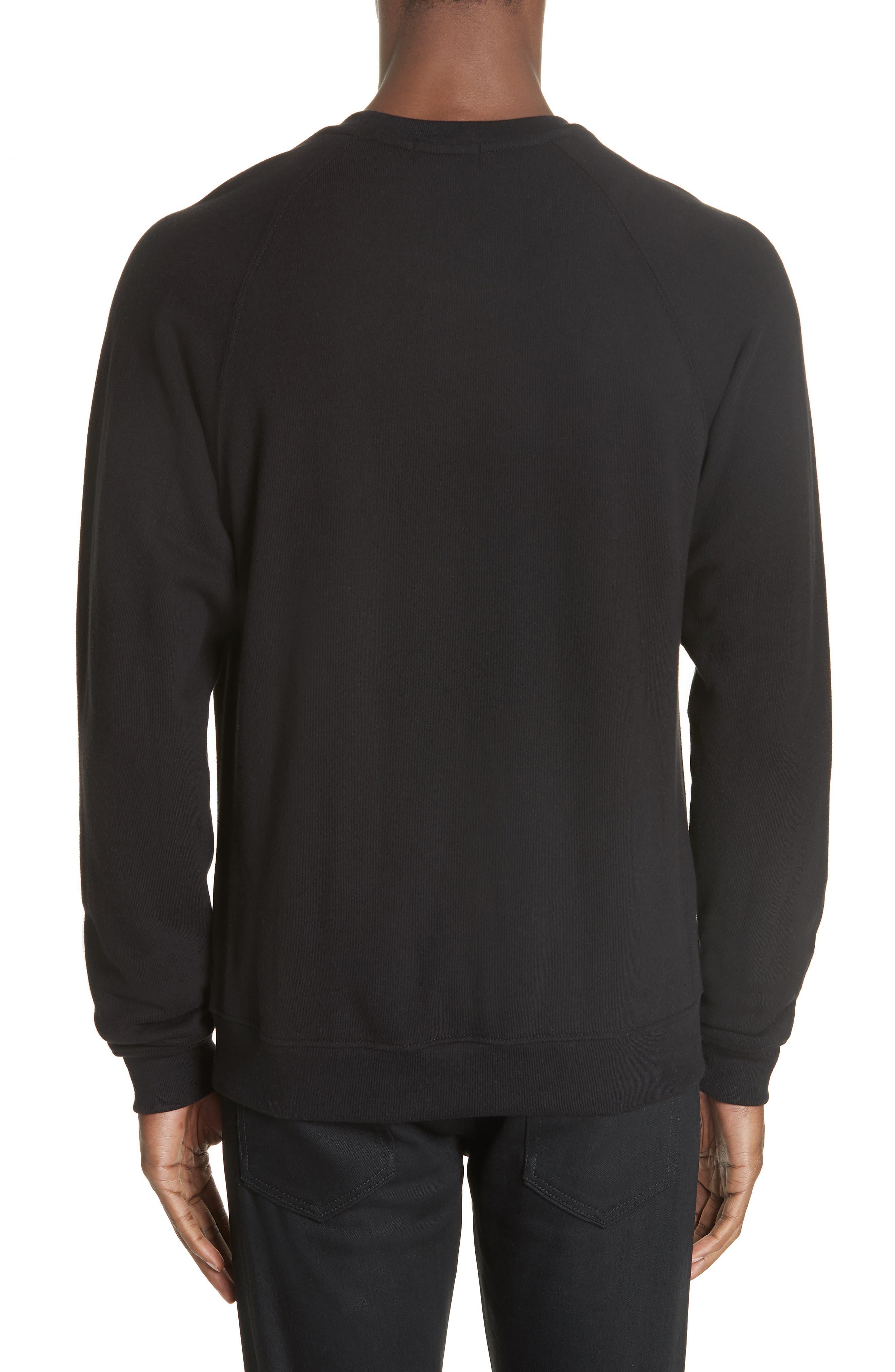 Raglan Crewneck Sweatshirt,                             Alternate thumbnail 2, color,                             BLACK