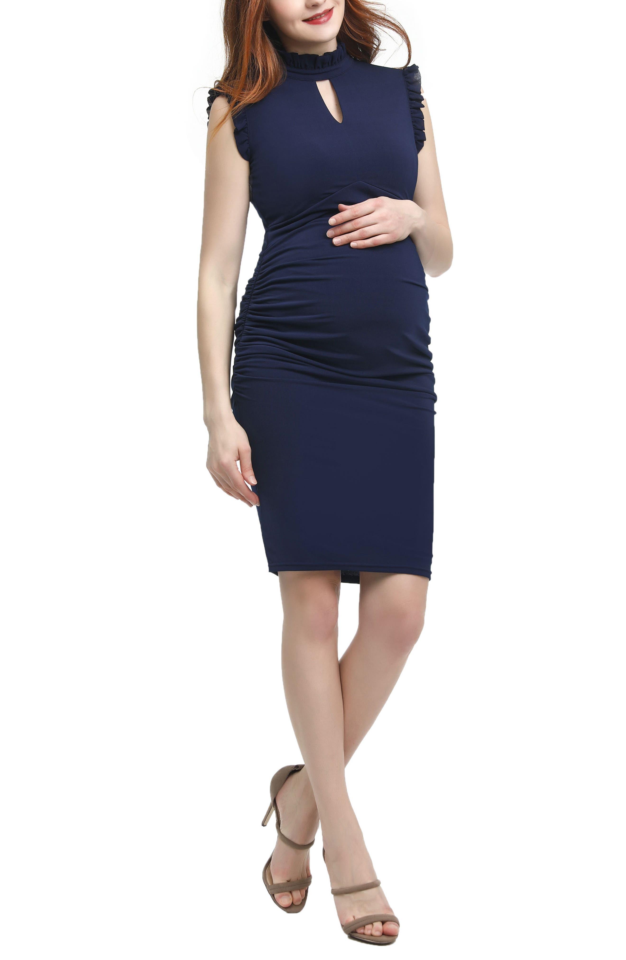 Kimi And Kai Madeline Maternity Body-Con Dress, Blue