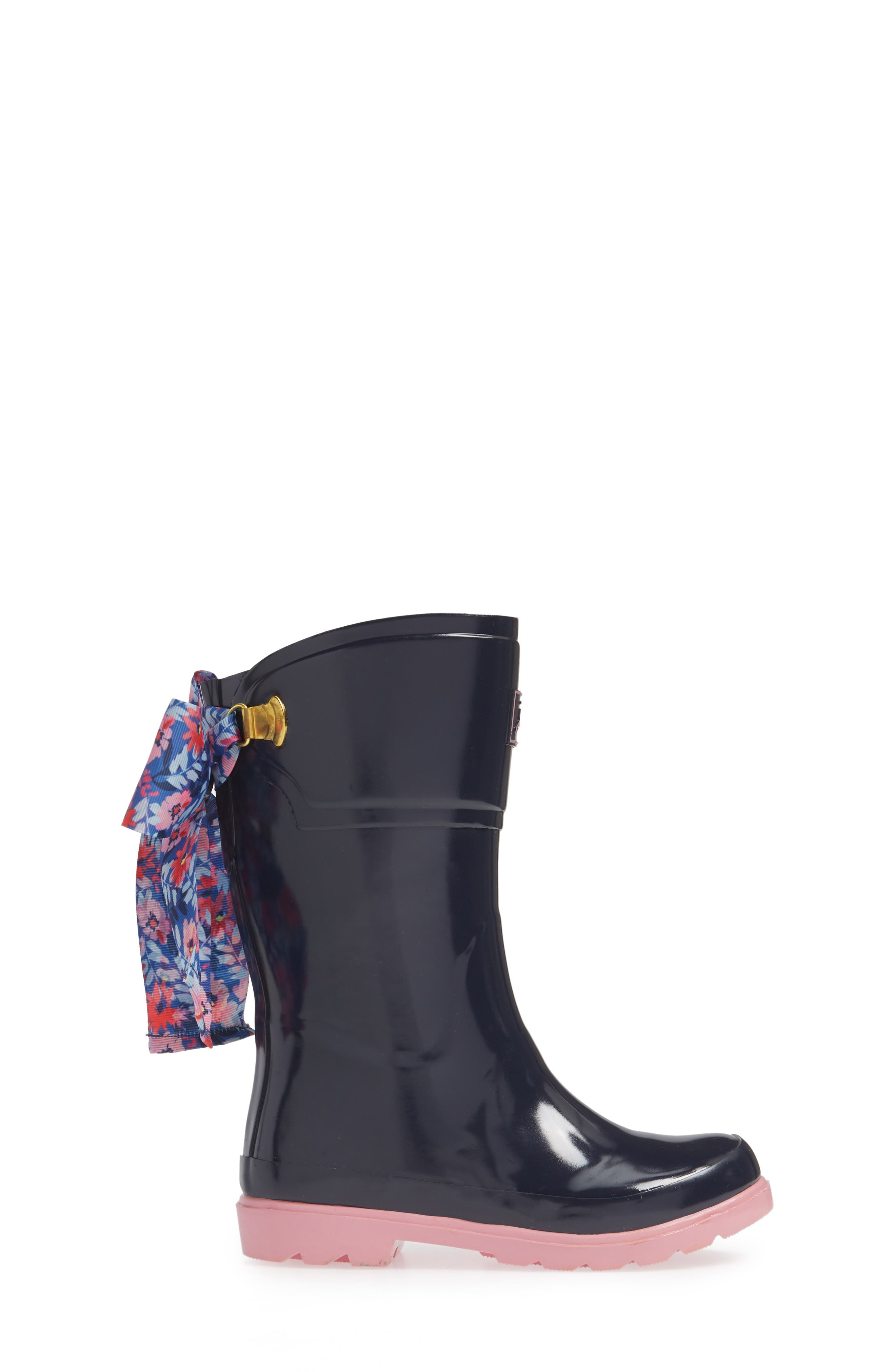 Bow Welly Waterproof Rain Boot,                             Alternate thumbnail 3, color,                             FRENCH NAVY