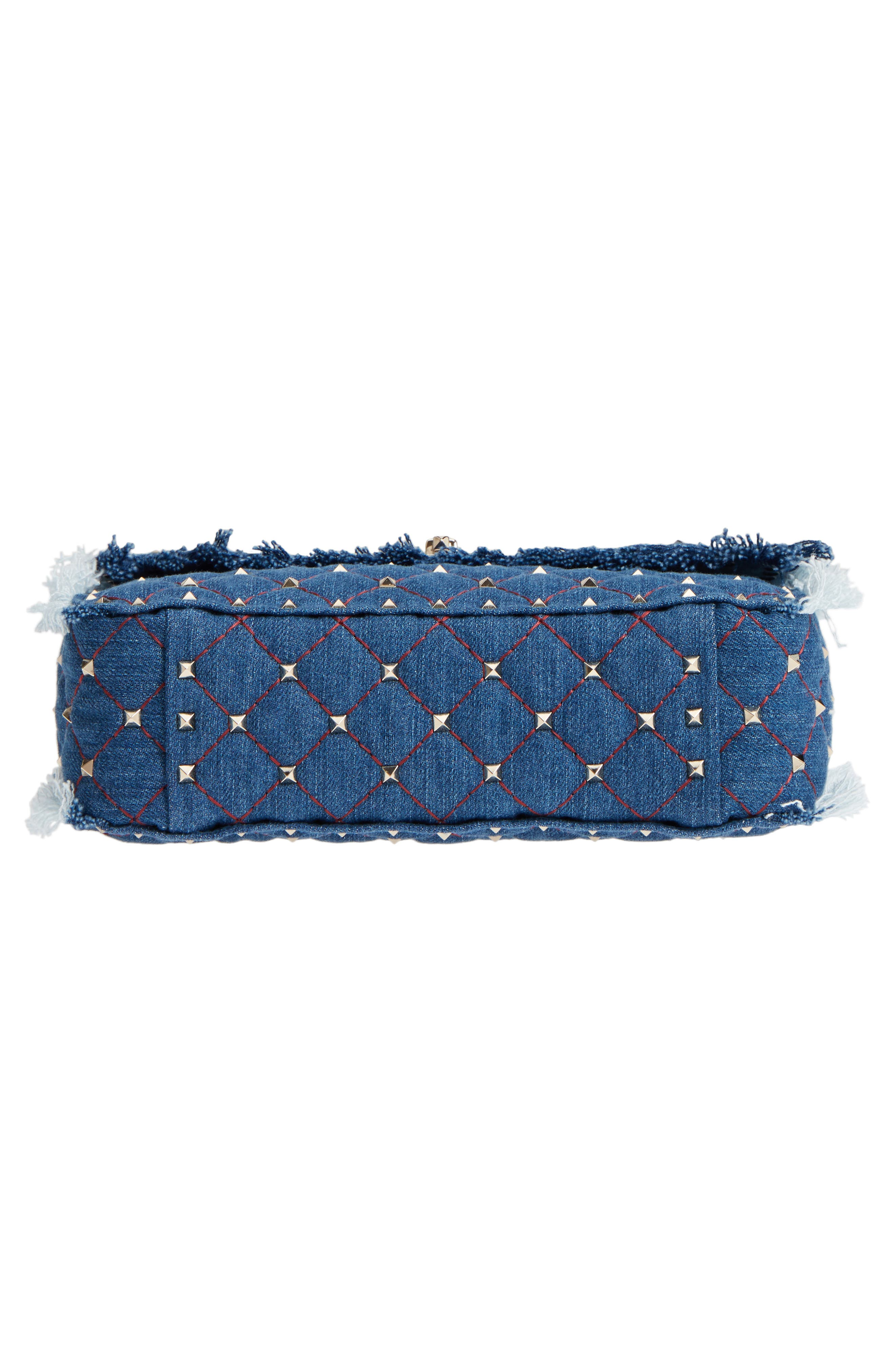 Rockstud Spike Medium Shoulder Bag,                             Alternate thumbnail 6, color,                             DENIM