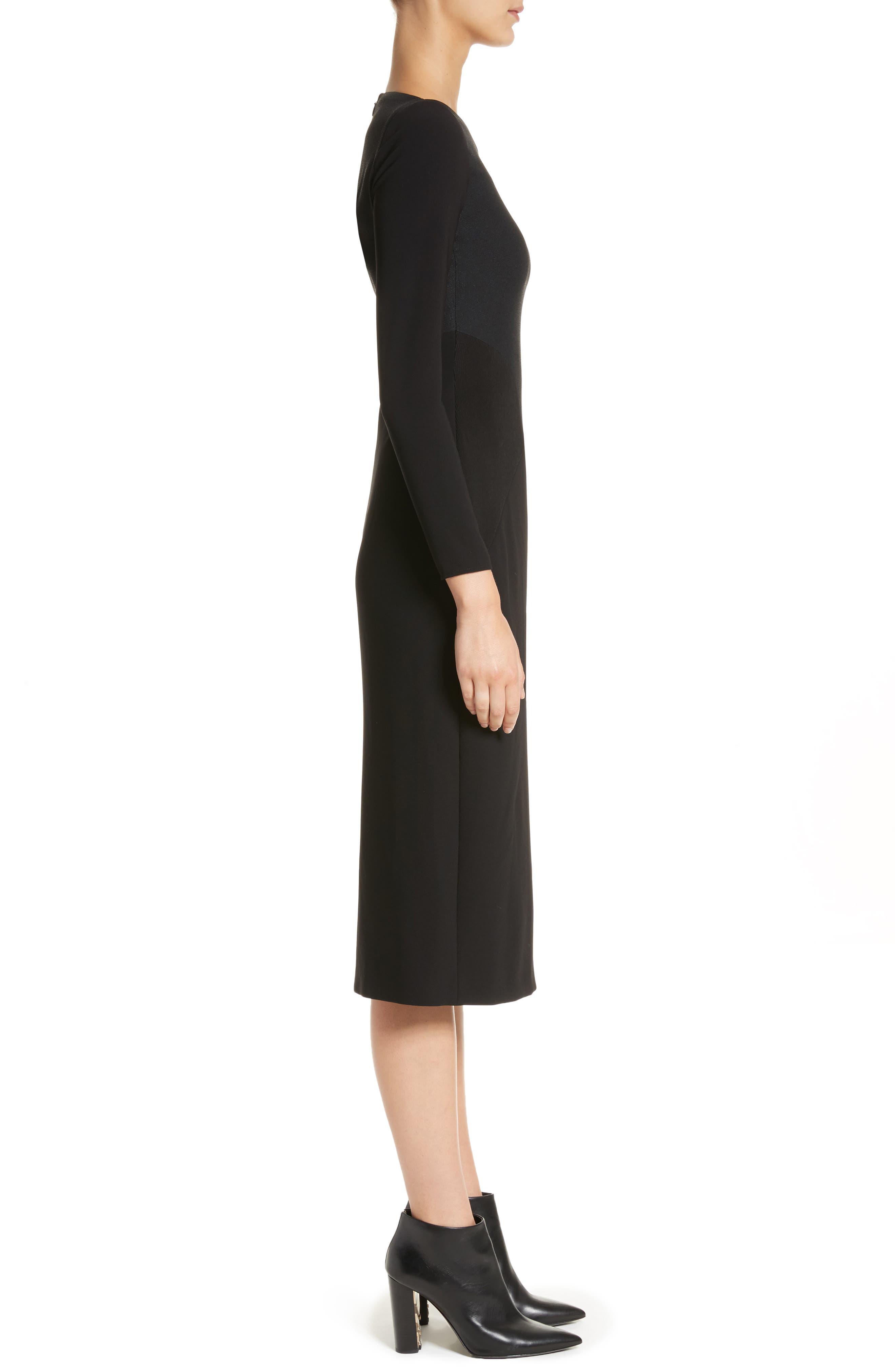 Fabiana Slash Neck Panel Dress,                             Alternate thumbnail 3, color,                             001