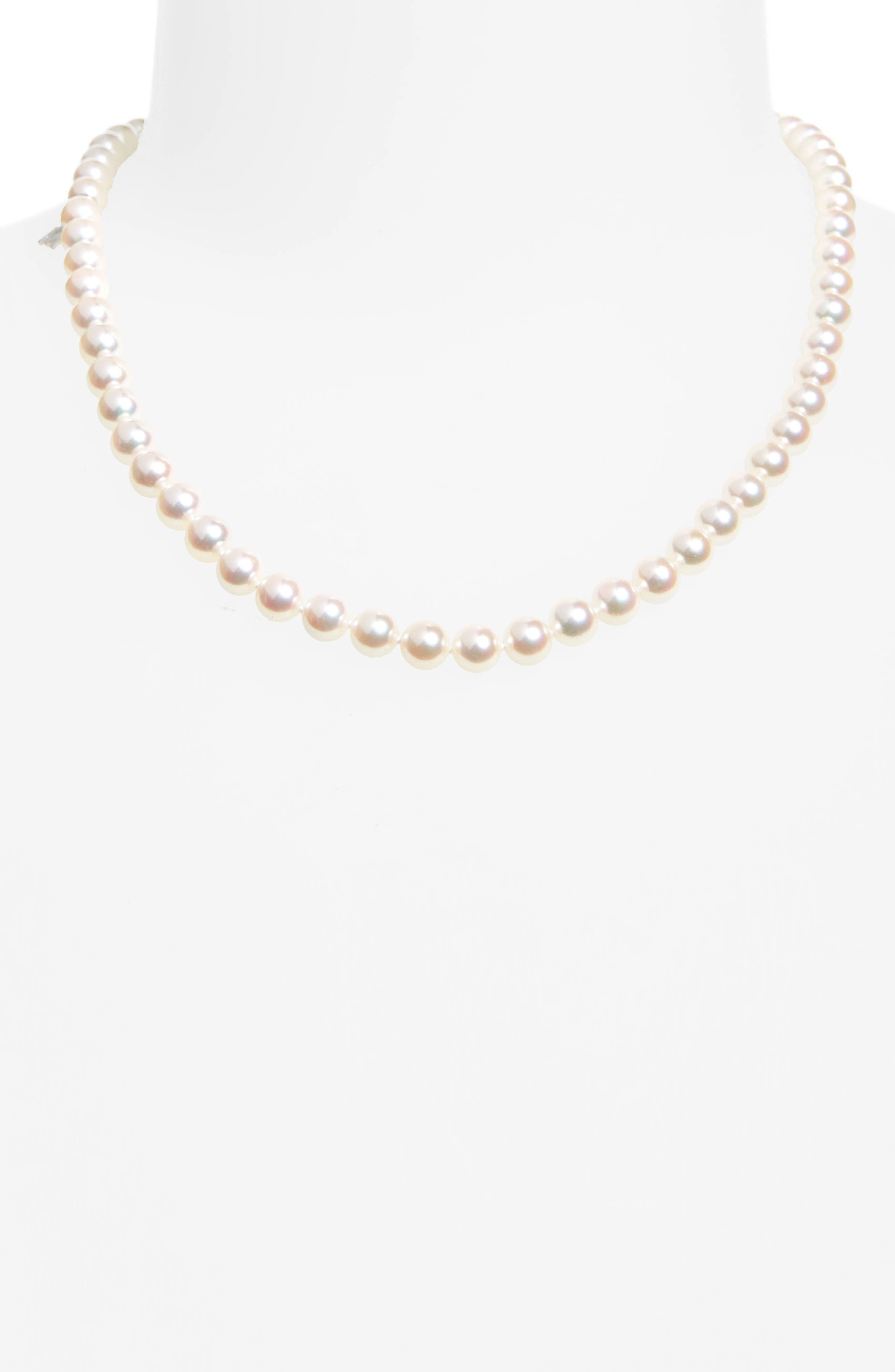 Every Essentials Cultured Pearl Strand Necklace,                             Alternate thumbnail 2, color,                             WHITE GOLD