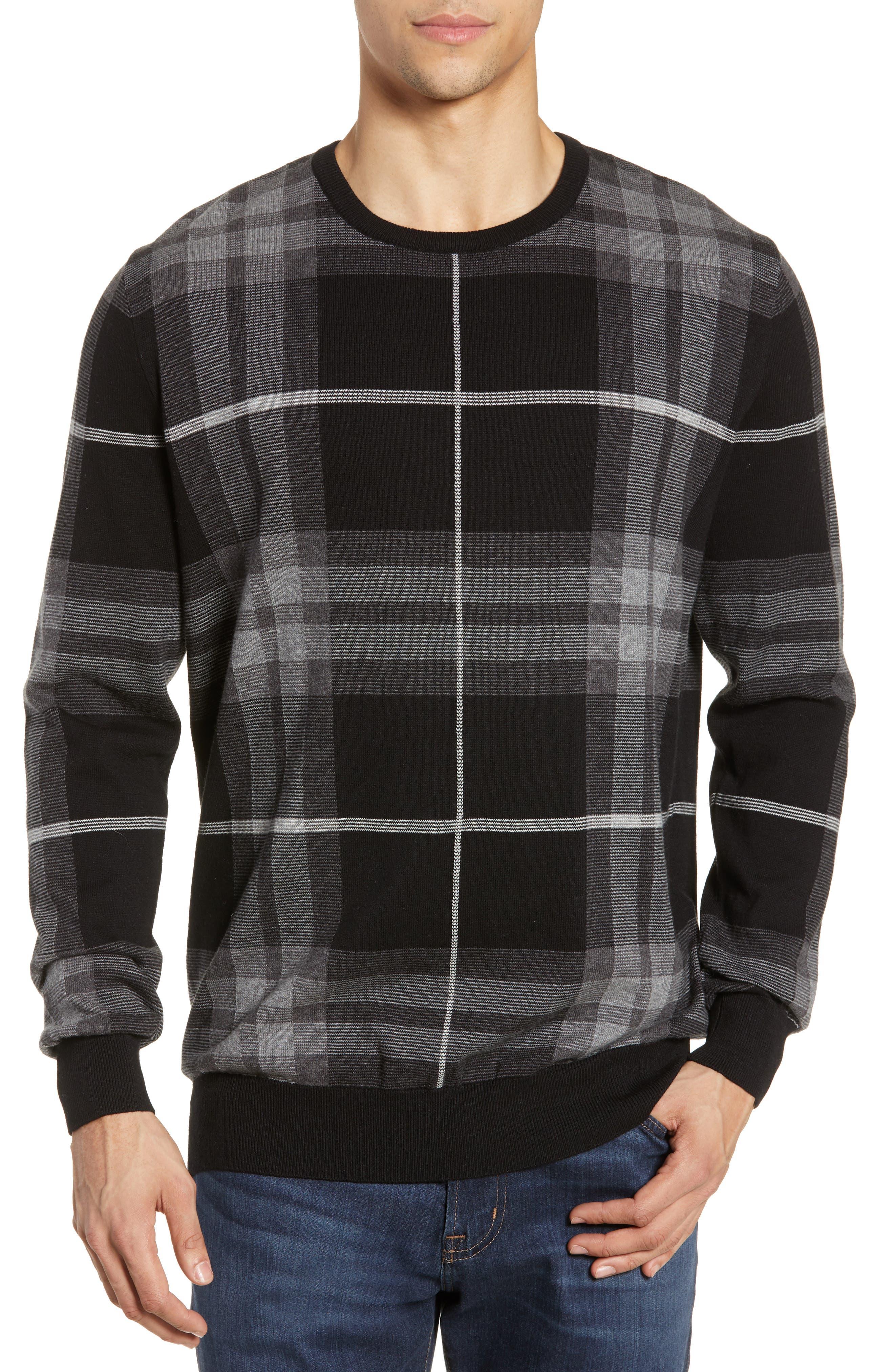 Barbour Jacquard Tartan Crewneck Sweater, Grey