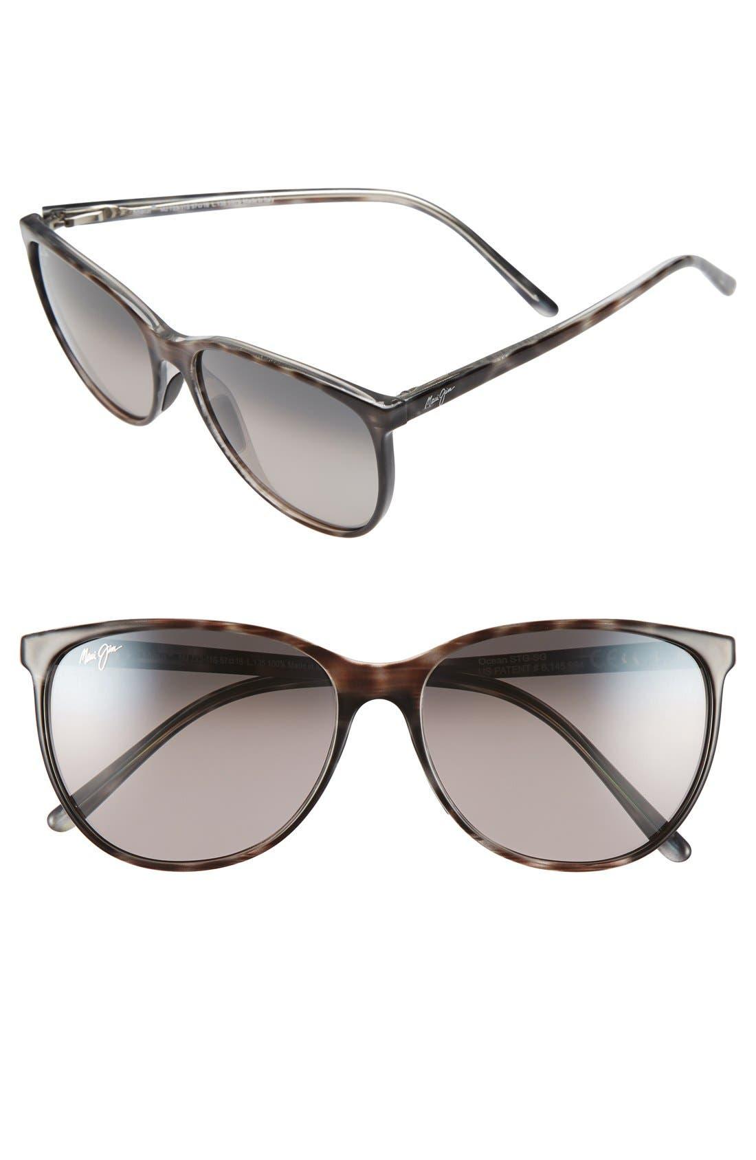Maui Jim Ocean 57Mm Polarizedplus2 Sunglasses - Grey Tortoise Stripe/ Grey