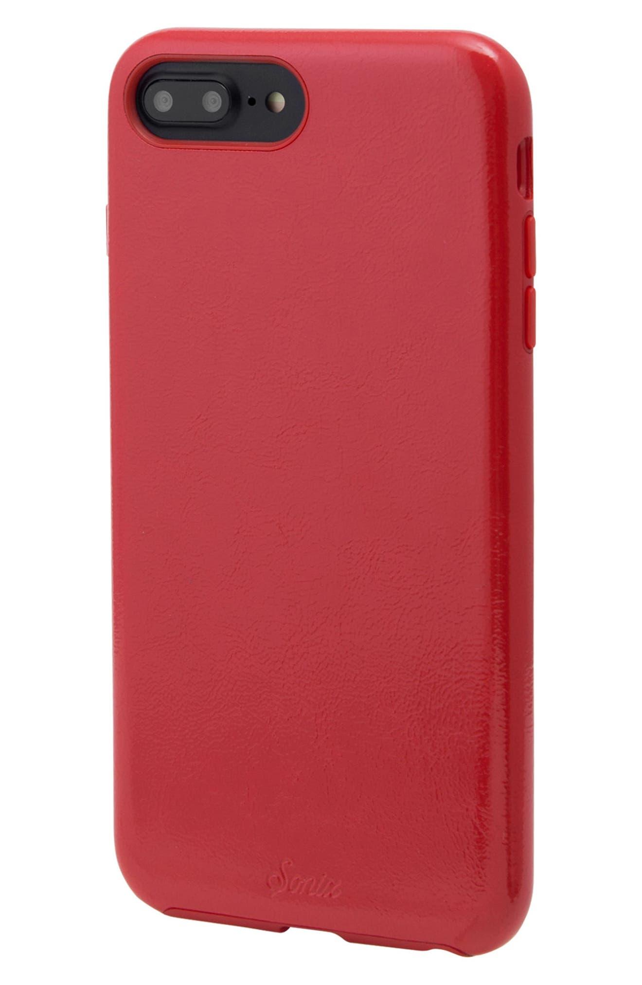 Cherry Faux Leather iPhone 6/6s/7/8 Plus Case,                             Alternate thumbnail 9, color,