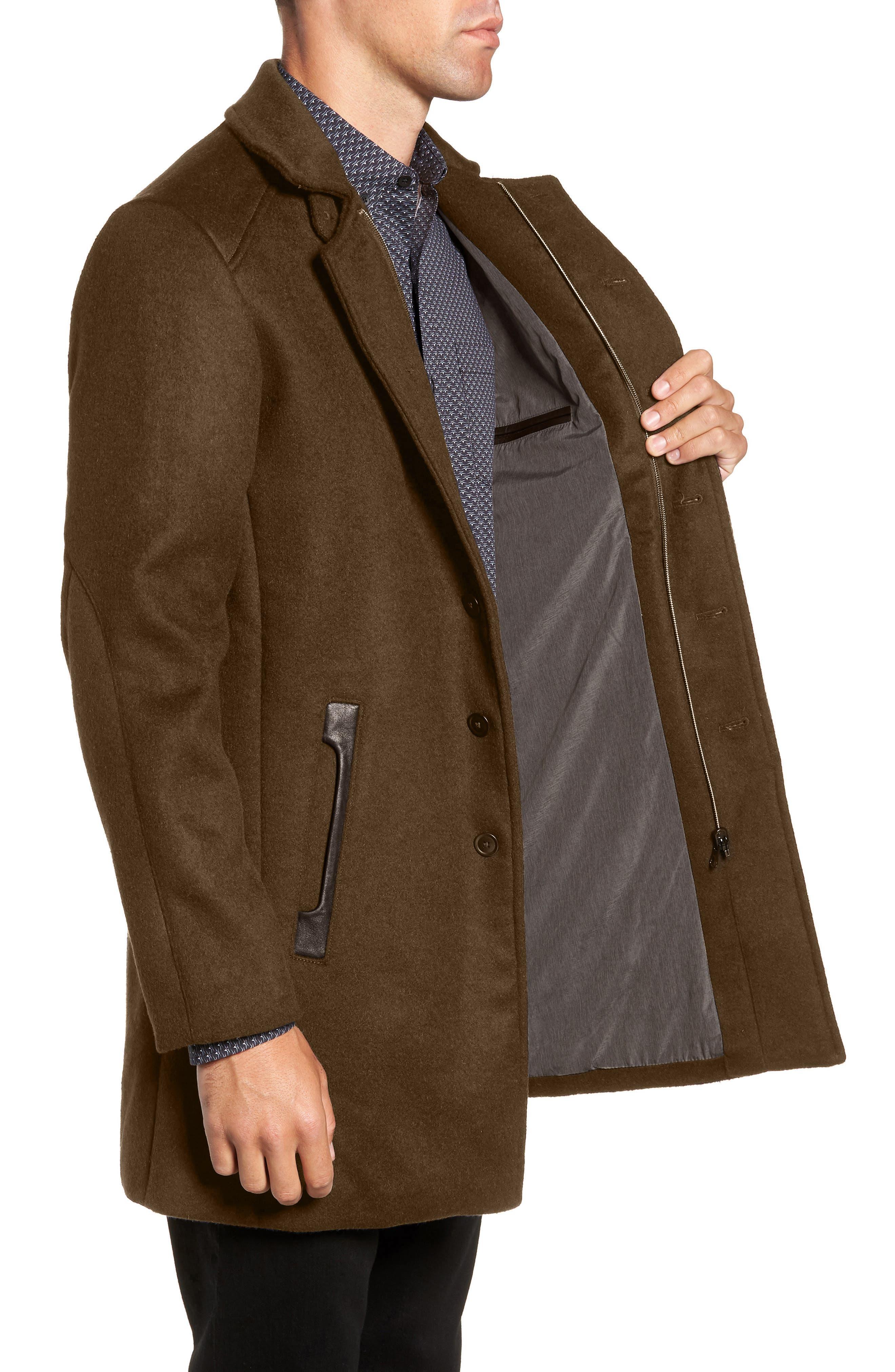 W.R.K,                             Kilo Slim Fit Wool Blend Coat,                             Alternate thumbnail 3, color,                             OLIVE
