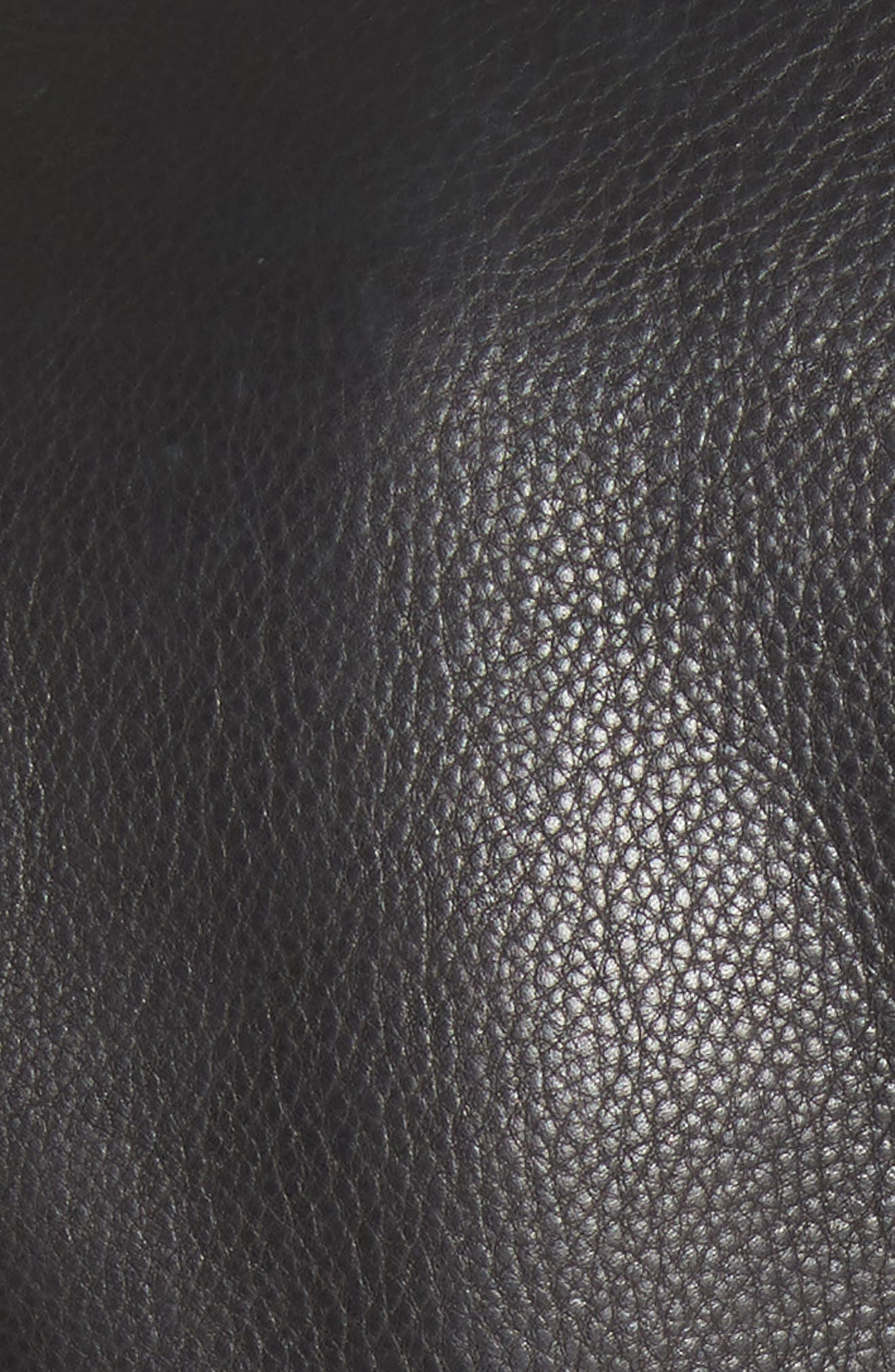 Zip Front Leather Blazer,                             Alternate thumbnail 7, color,                             BLACK