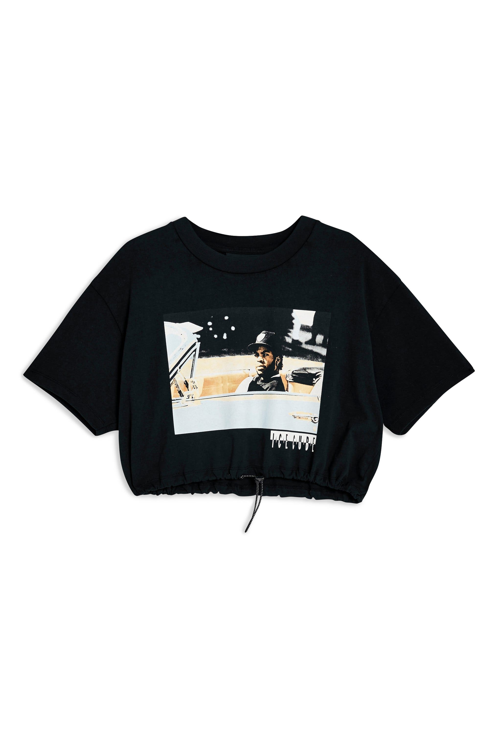 Ice Cube Crop Drawstring Tee,                             Alternate thumbnail 4, color,                             BLACK MULTI