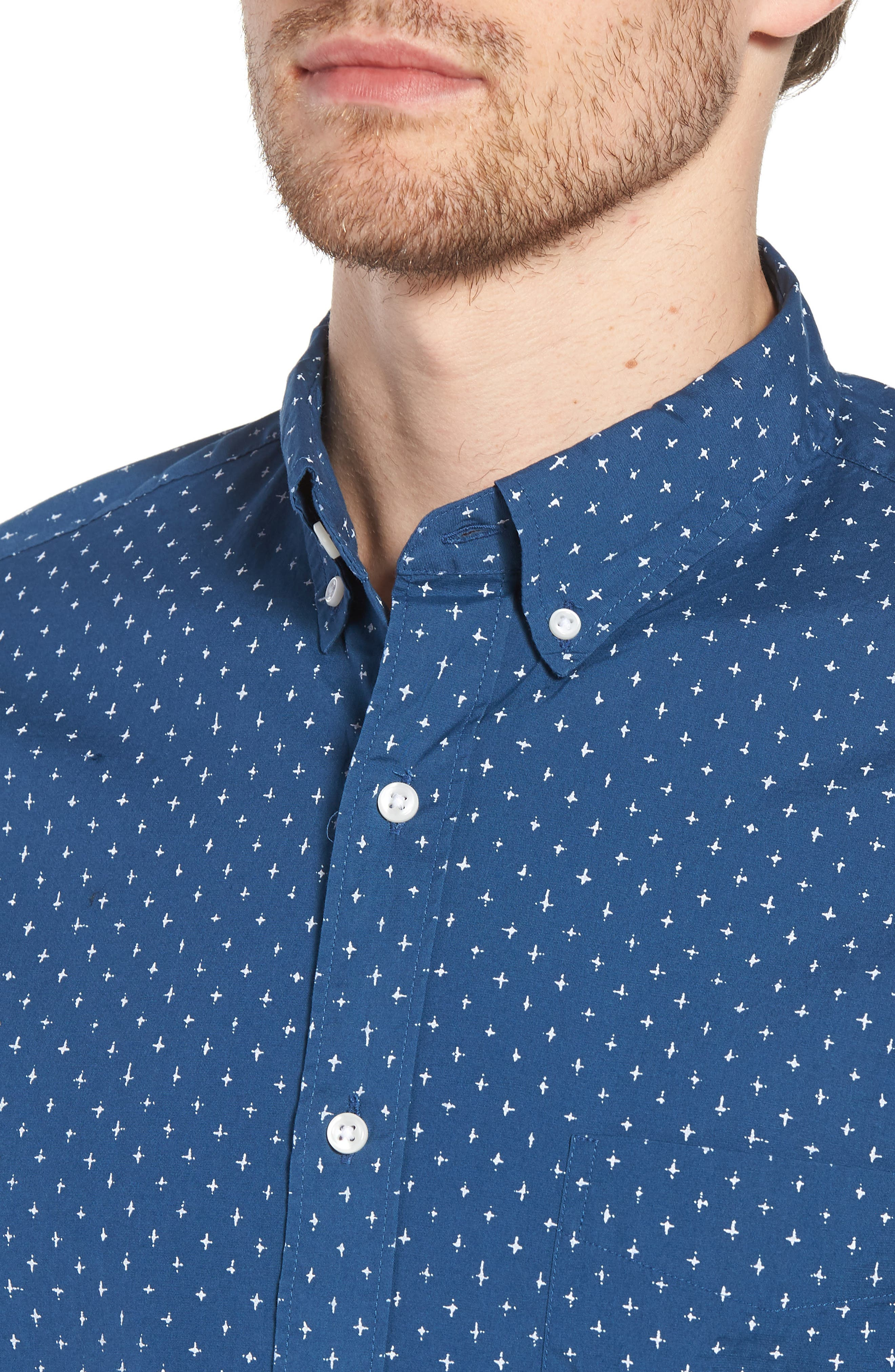 Slim Fit Stretch Secret Wash Crosshatch Print Sport Shirt,                             Alternate thumbnail 4, color,