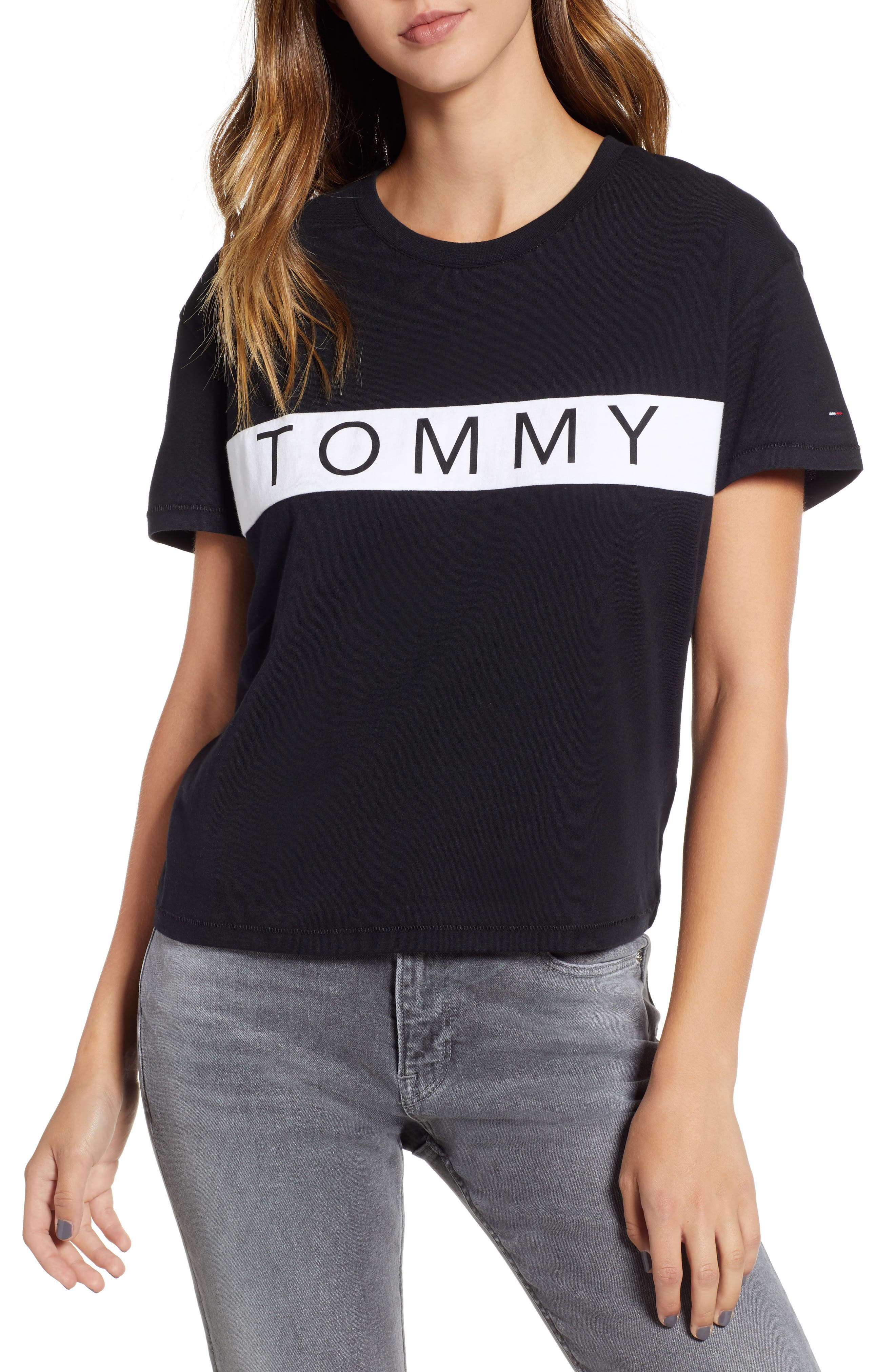 Tommy Bold Logo Tee,                         Main,                         color, TOMMY BLACK