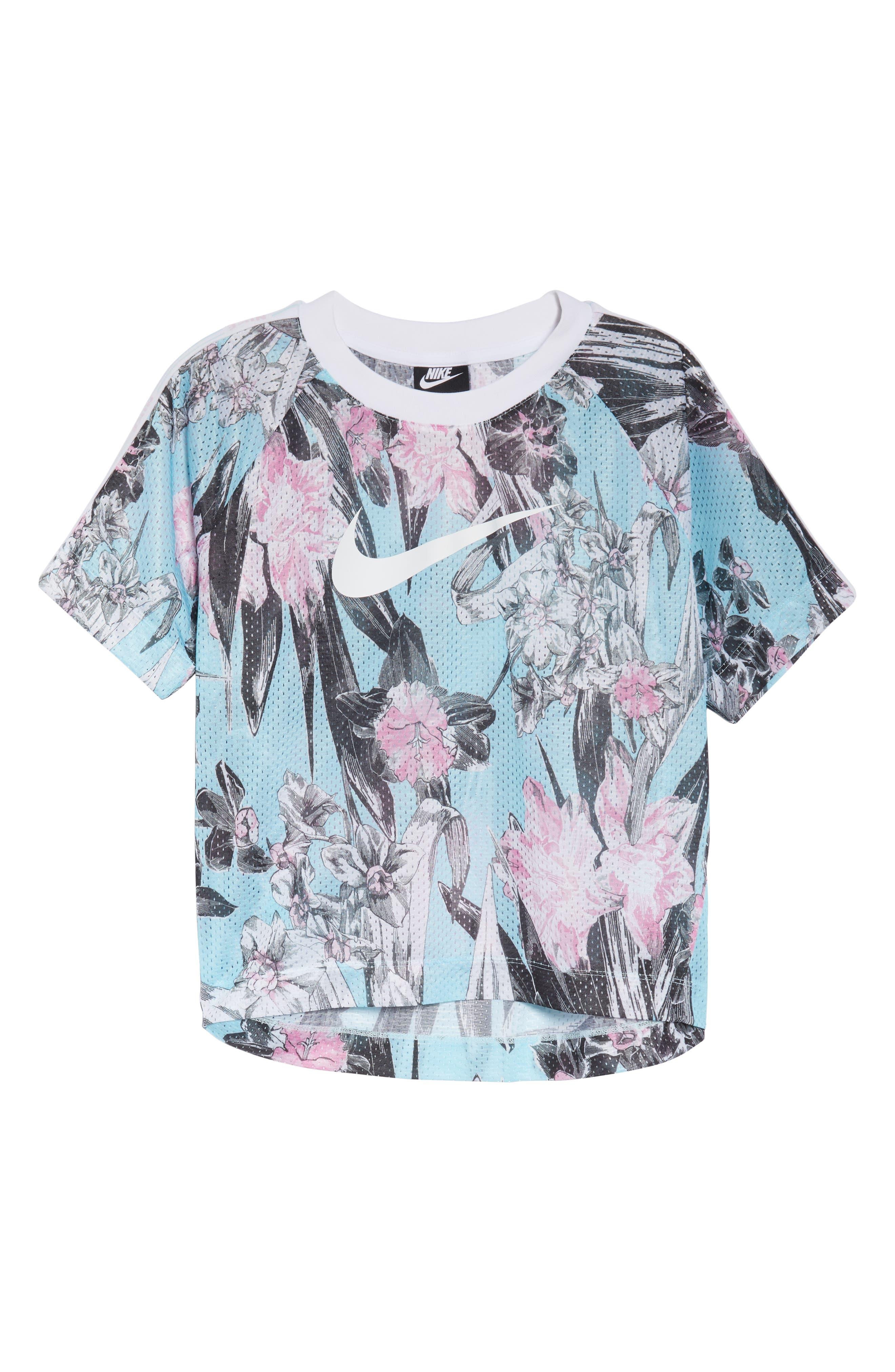 Sportswear Floral Print Mesh Top,                             Alternate thumbnail 7, color,                             TOPAZ MIST/ WHITE