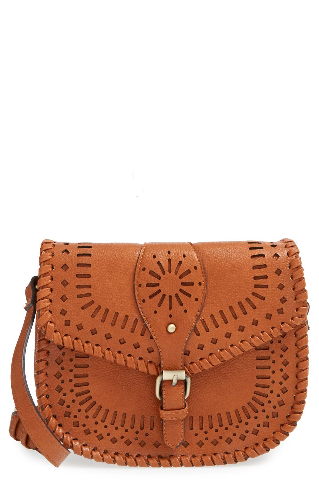 'Kianna' Perforated Faux Leather Crossbody Bag,                             Main thumbnail 2, color,