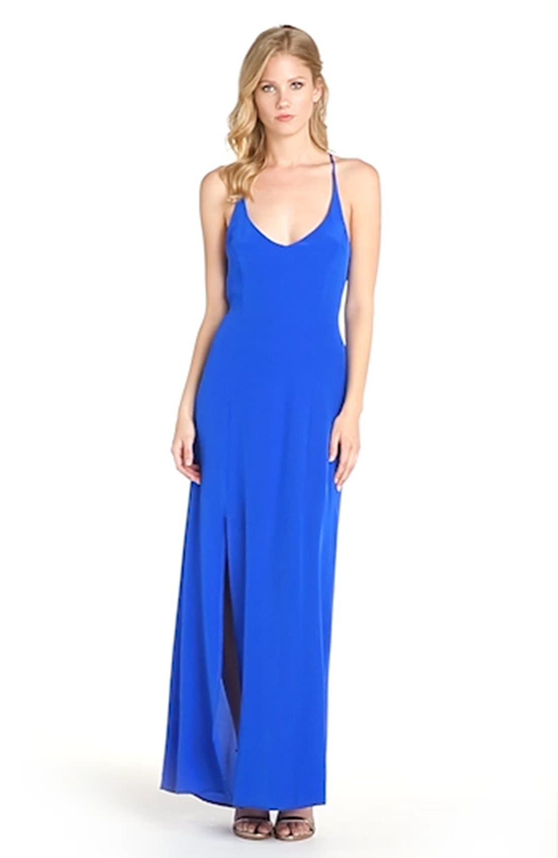 Strappy Back Silk Maxi Dress,                             Alternate thumbnail 4, color,                             421