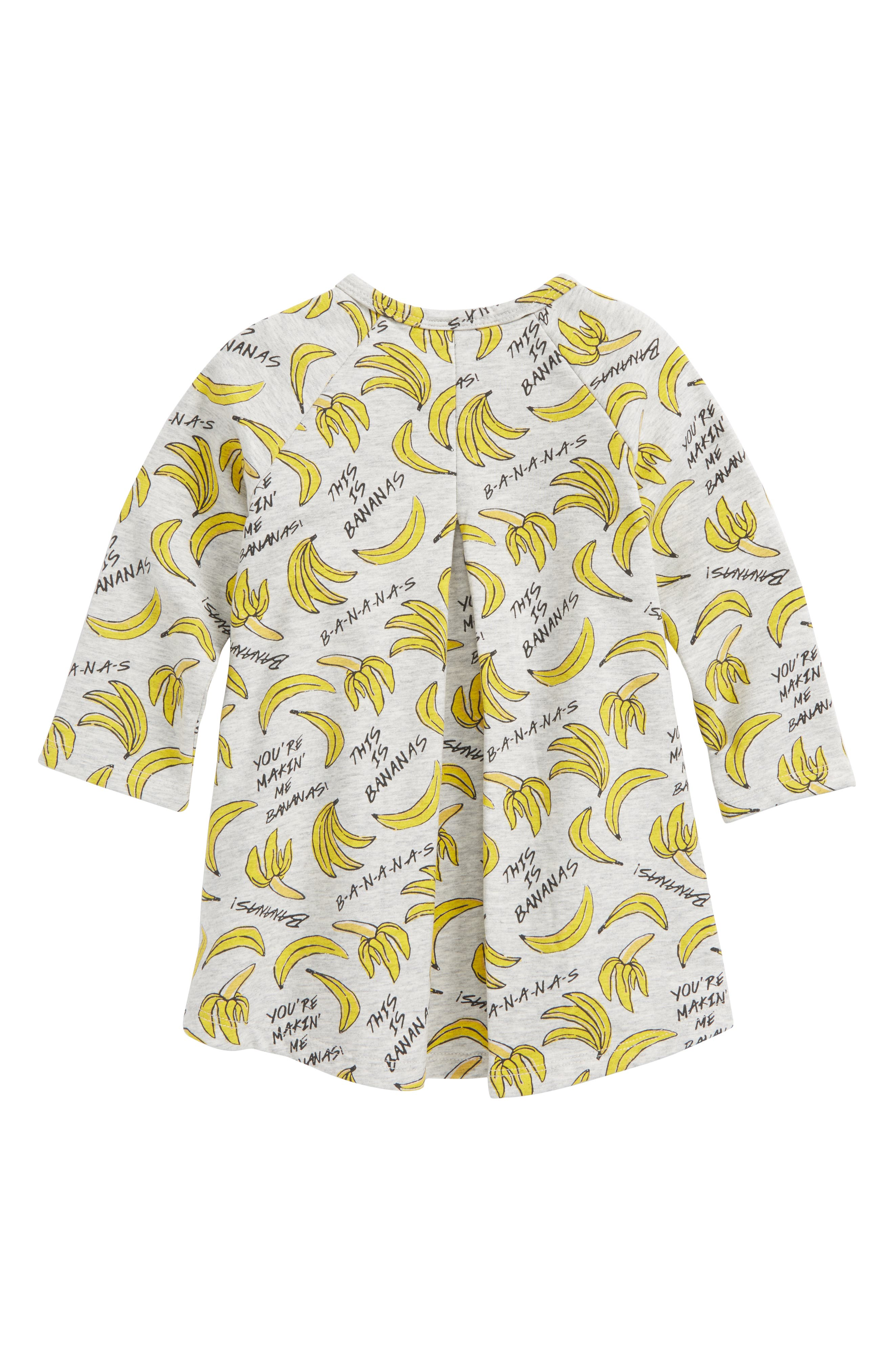 Bananas Print Fleece Dress,                             Alternate thumbnail 2, color,