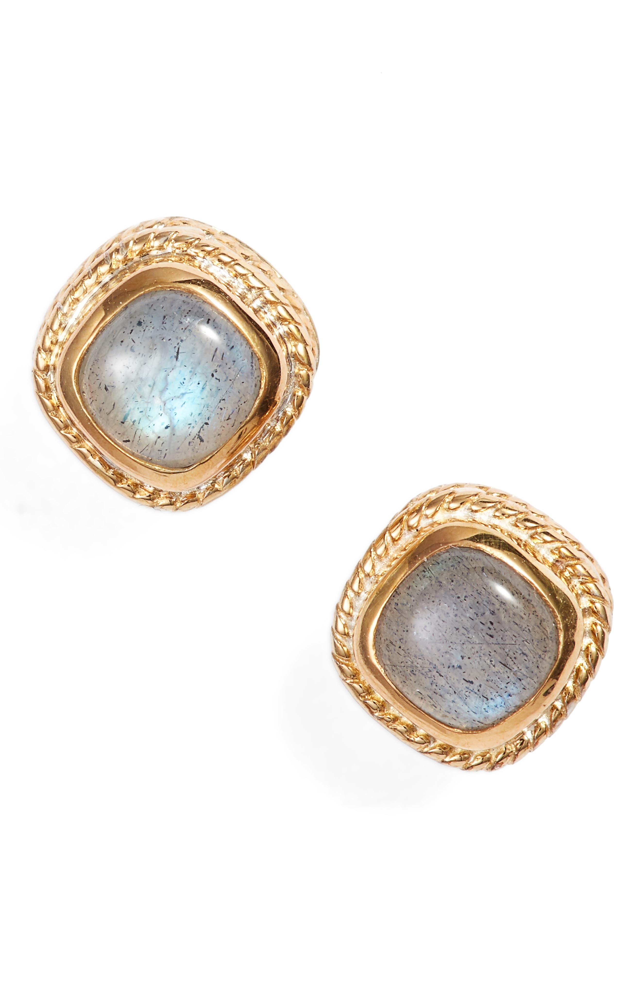 Semiprecious Stone Cushion Stud Earrings,                             Main thumbnail 1, color,                             GOLD/ LABRADORITE