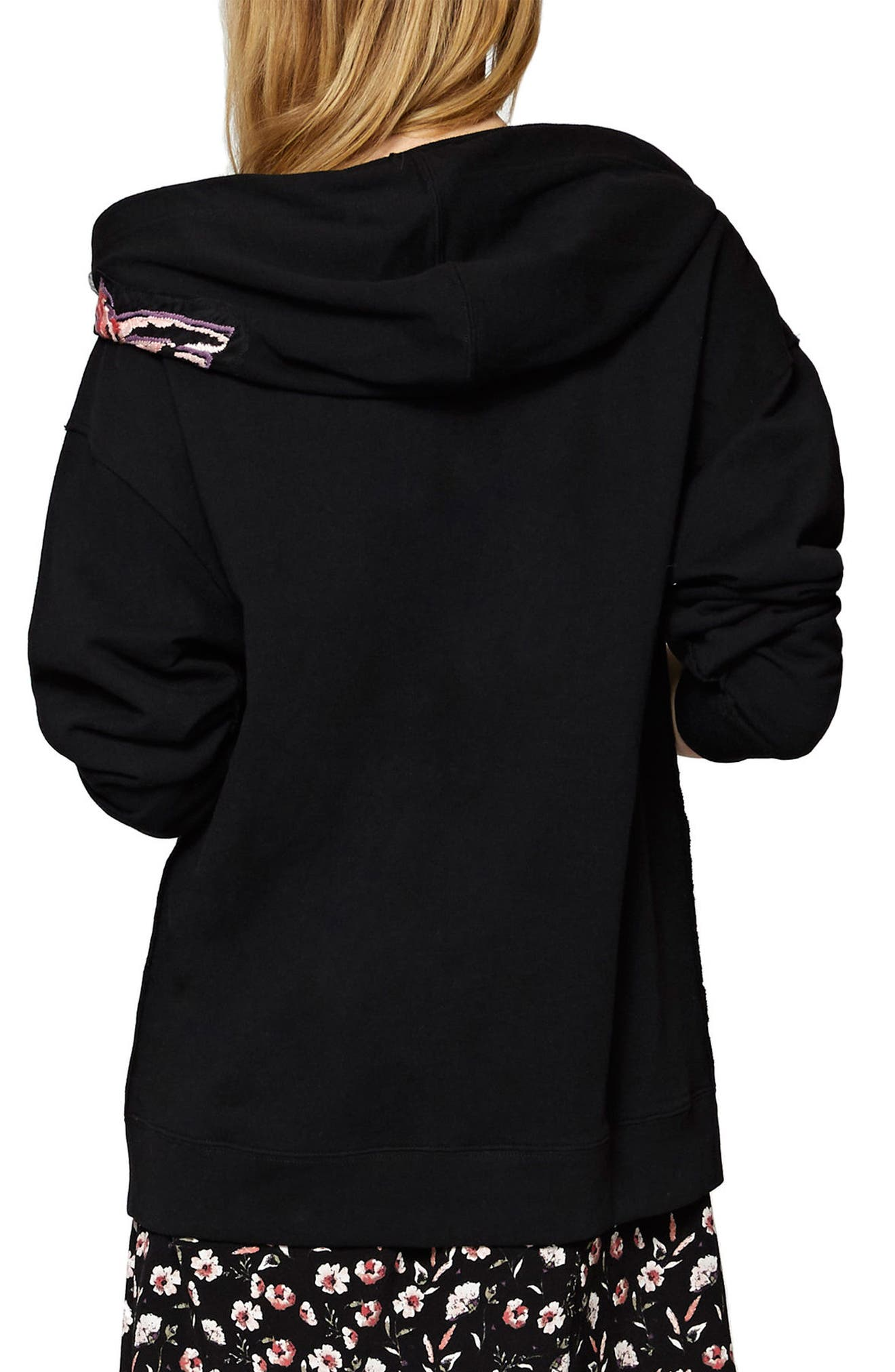 Embroidered Boyfriend Hoodie,                             Alternate thumbnail 3, color,                             001
