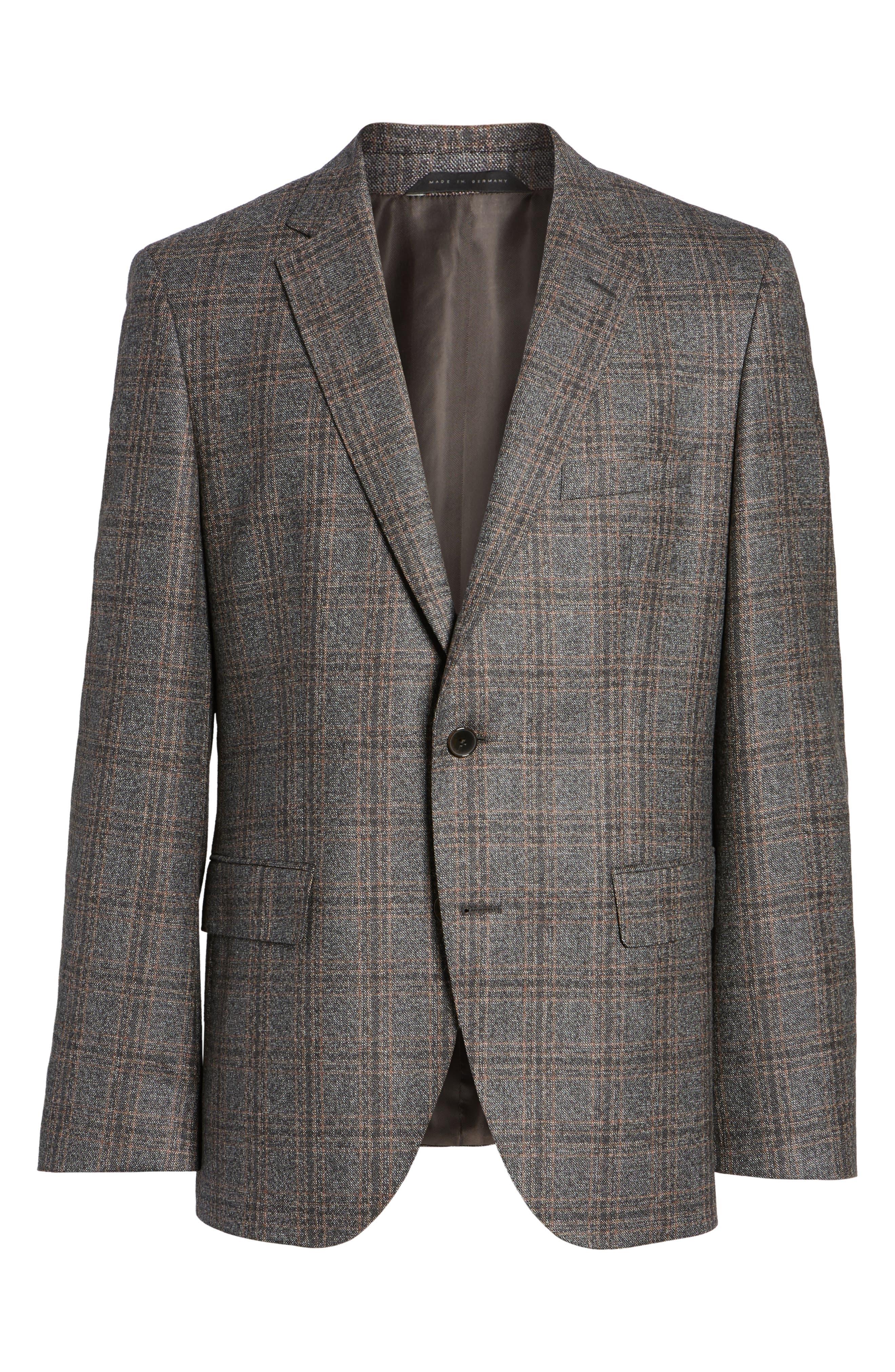 Jeen Trim Fit Plaid Wool Sport Coat,                             Alternate thumbnail 5, color,                             202