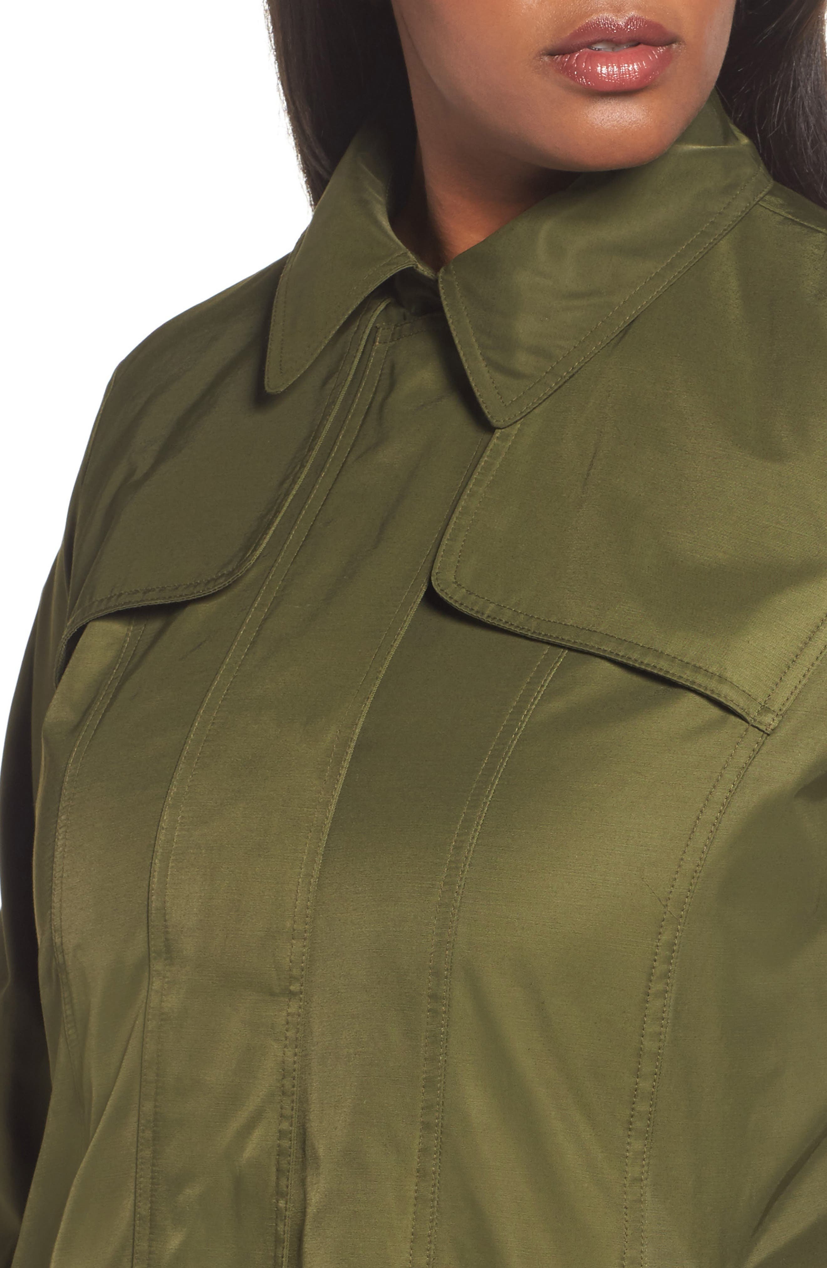 Packable Fit & Flare Raincoat,                             Alternate thumbnail 4, color,                             OLIVE