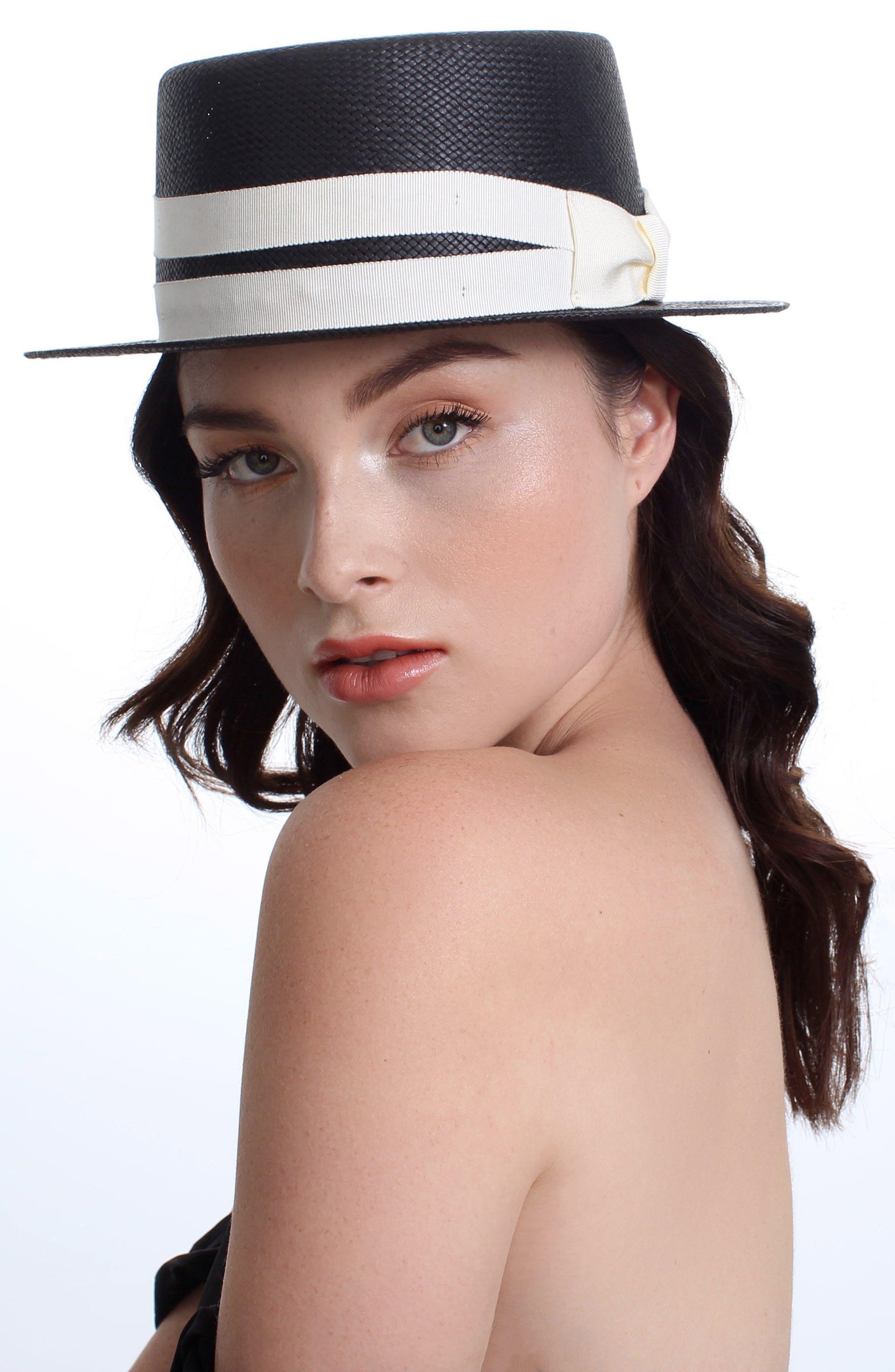 The Gemini Boater Hat,                             Alternate thumbnail 3, color,                             BLACK