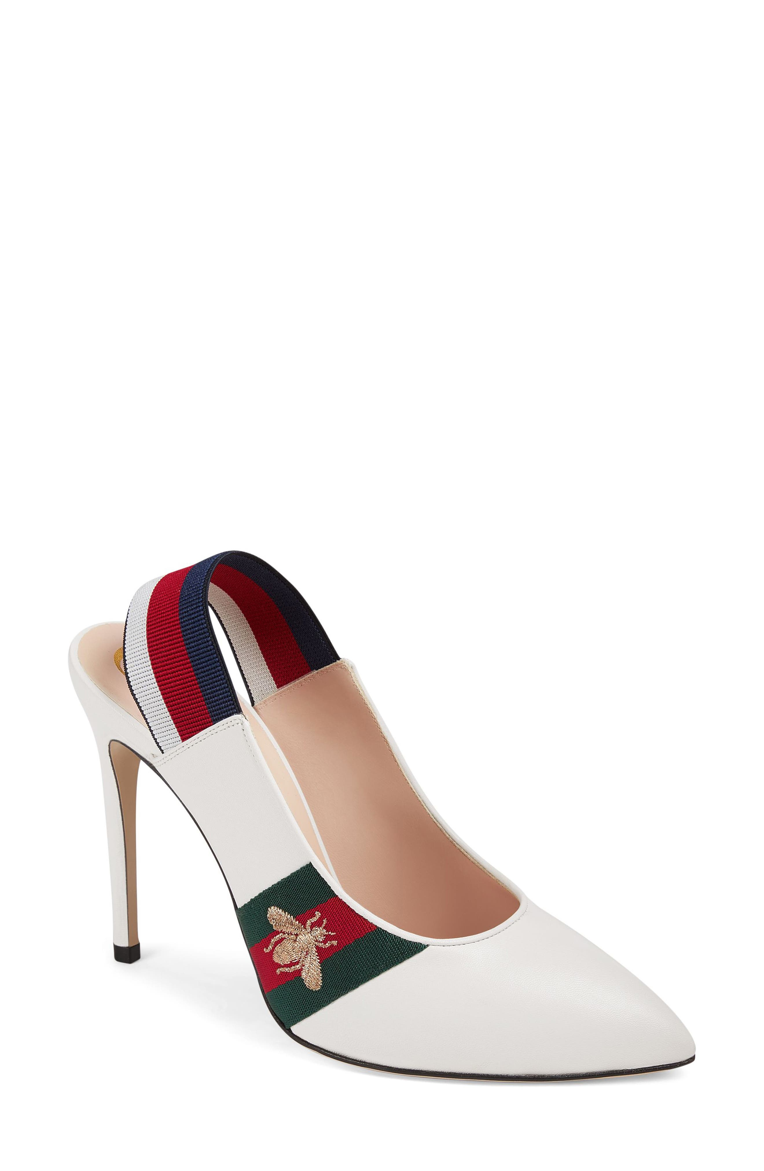 Sylvie Bee Slingback Pump,                         Main,                         color, WHITE