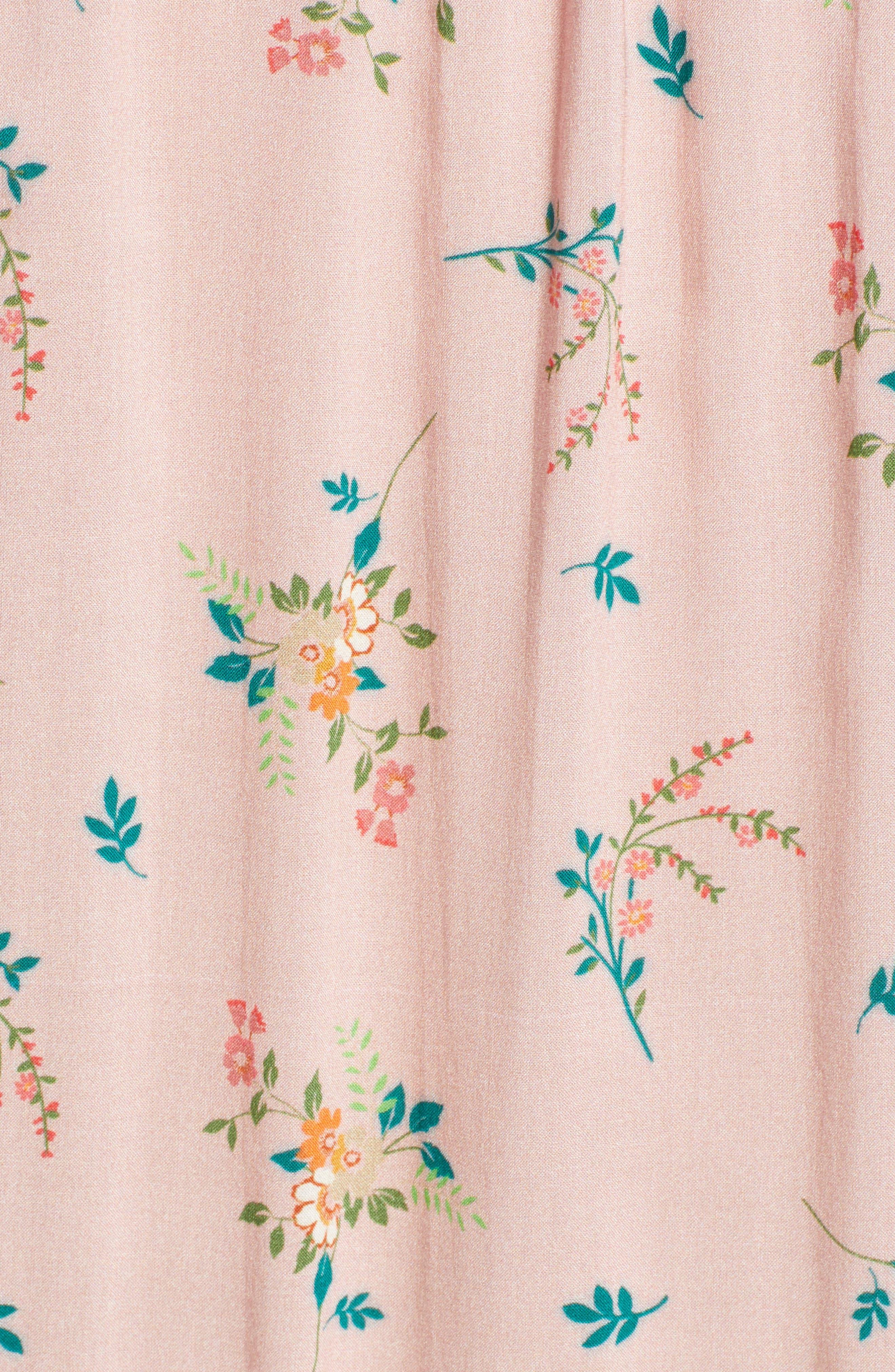 Floral Print Ruffle Minidress,                             Alternate thumbnail 6, color,