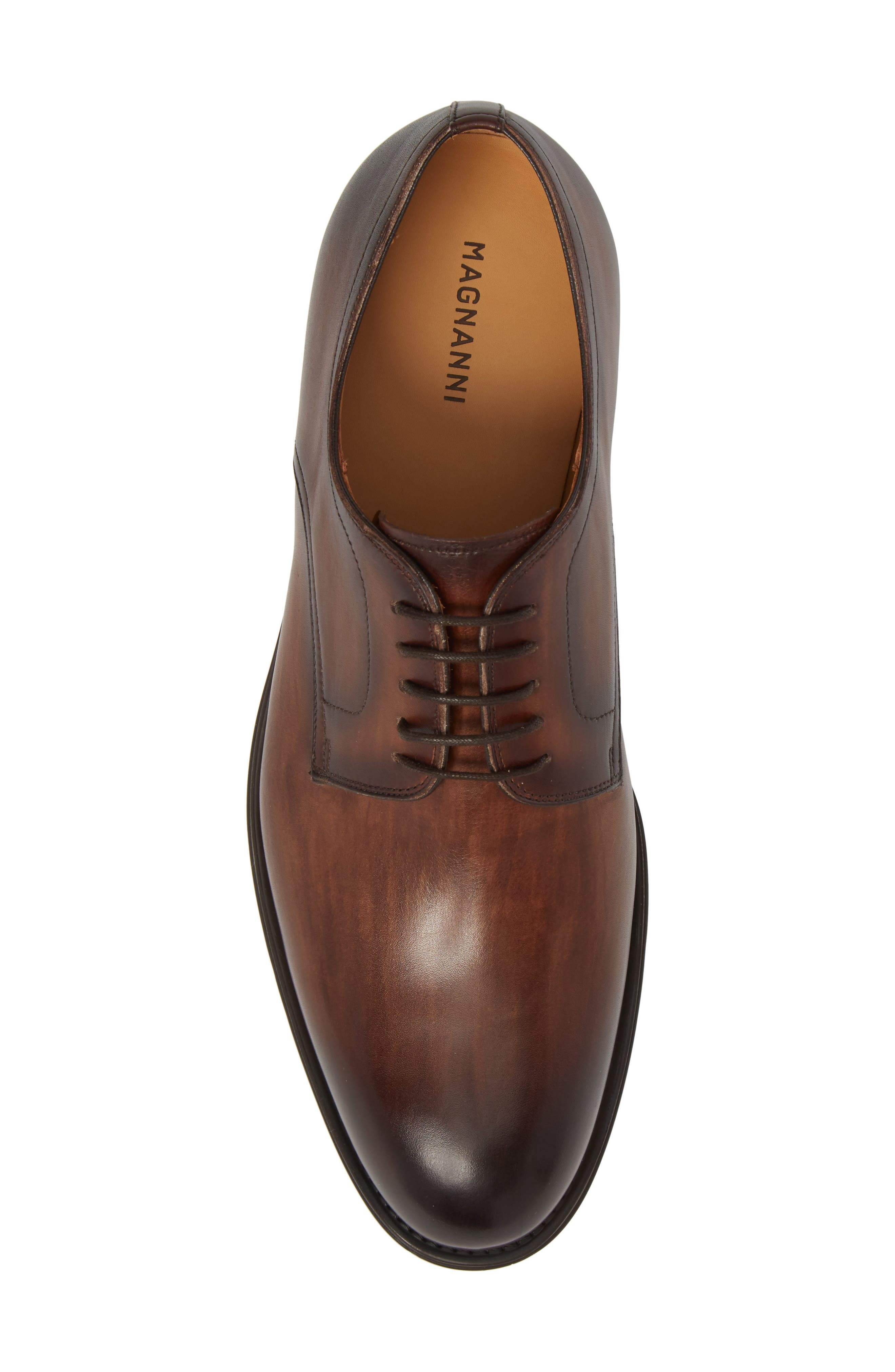 Solano Plain Toe Derby,                             Alternate thumbnail 5, color,                             BROWN LEATHER