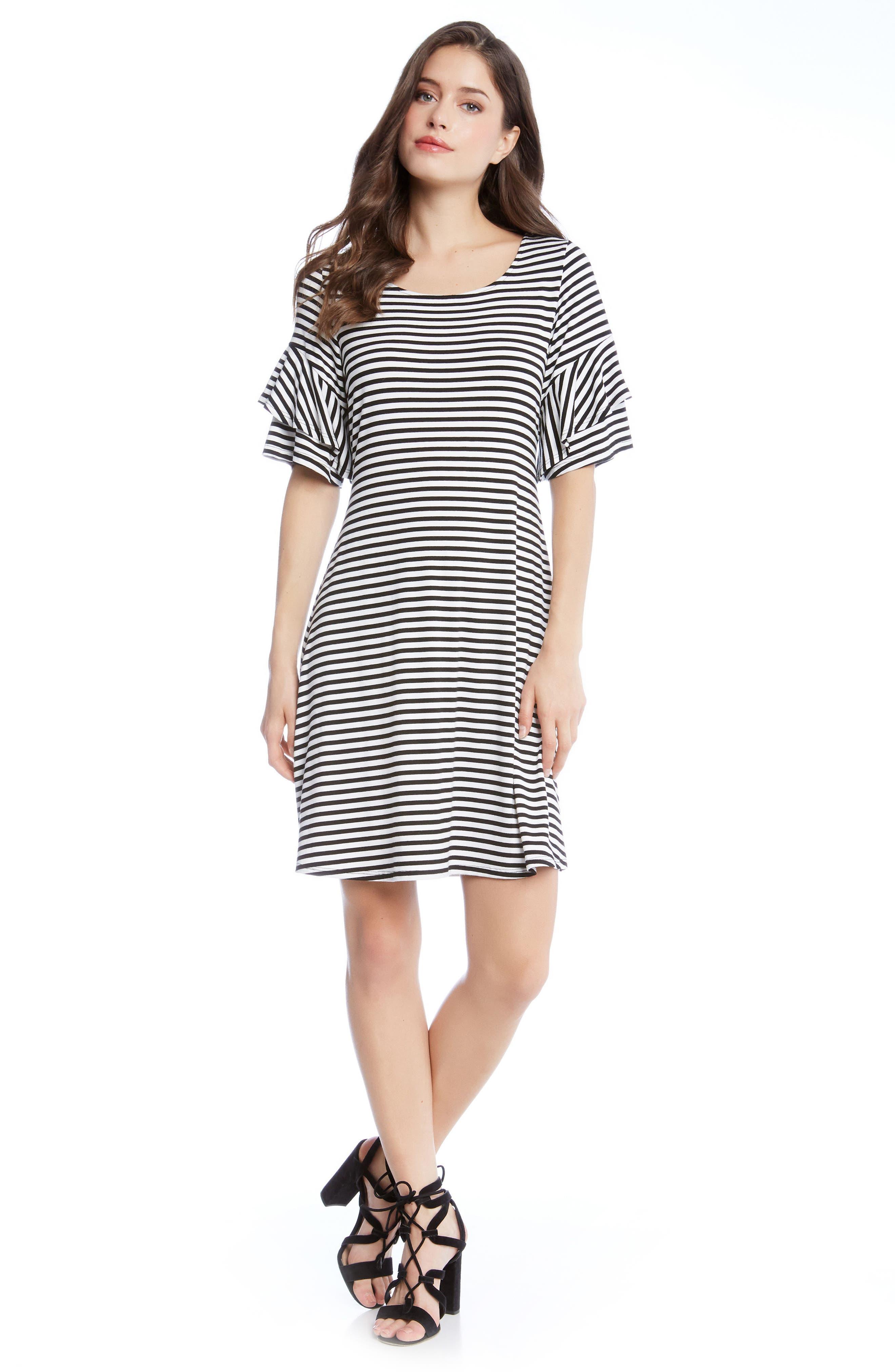 Ruffle Sleeve Stripe Dress,                             Alternate thumbnail 3, color,                             001