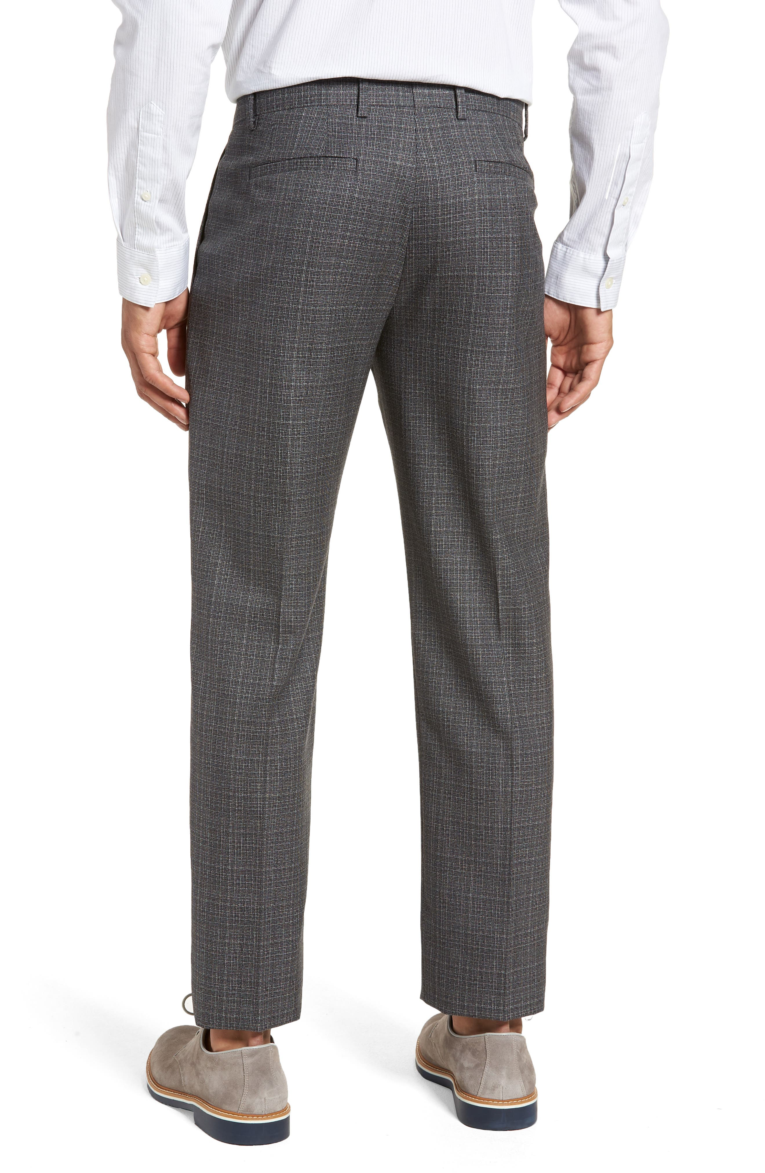 Pleated Check Wool Trousers,                             Alternate thumbnail 2, color,