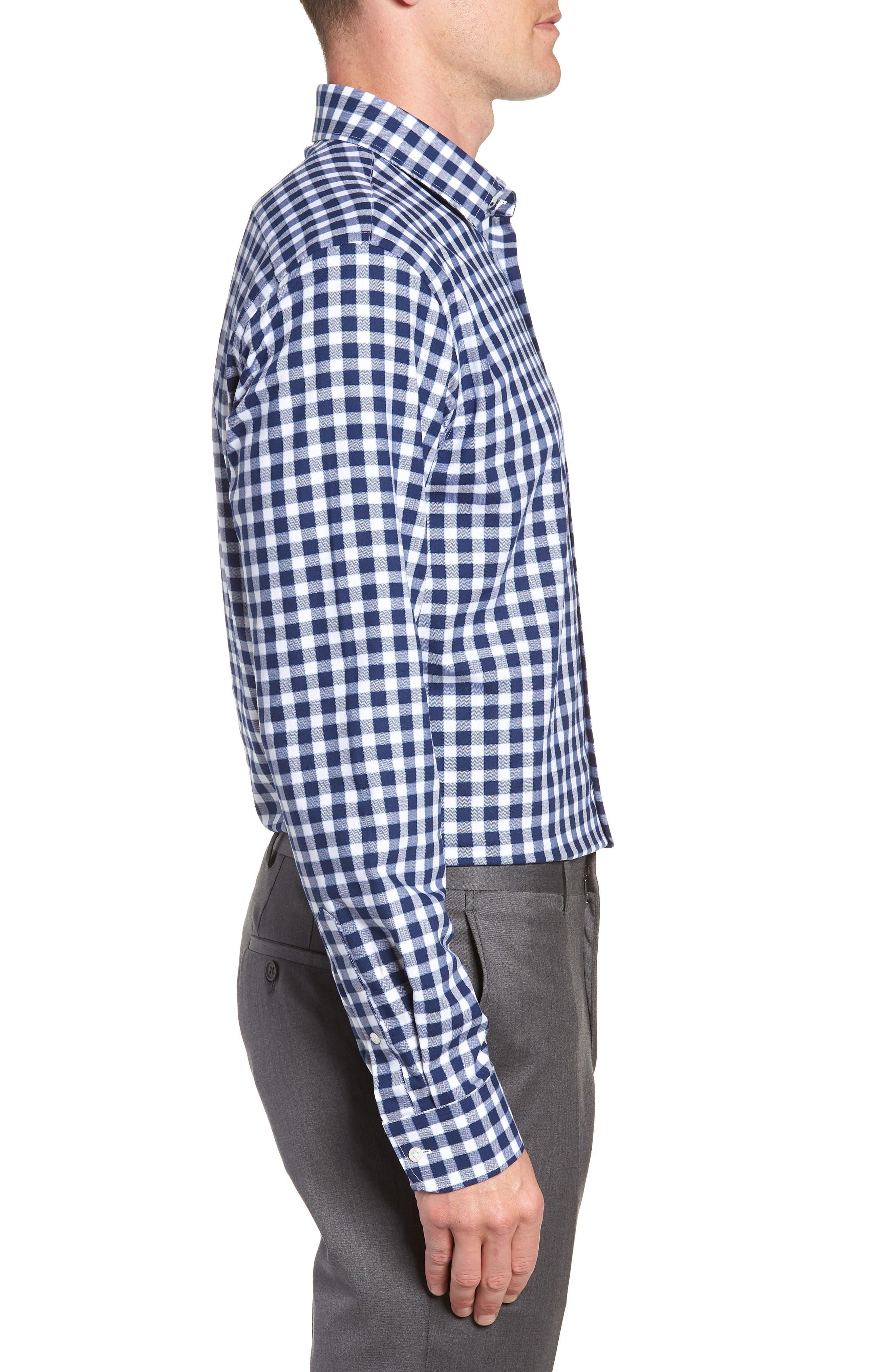 Tech-Smart Trim Fit Stretch Check Dress Shirt,                             Alternate thumbnail 4, color,                             NAVY PEACOAT