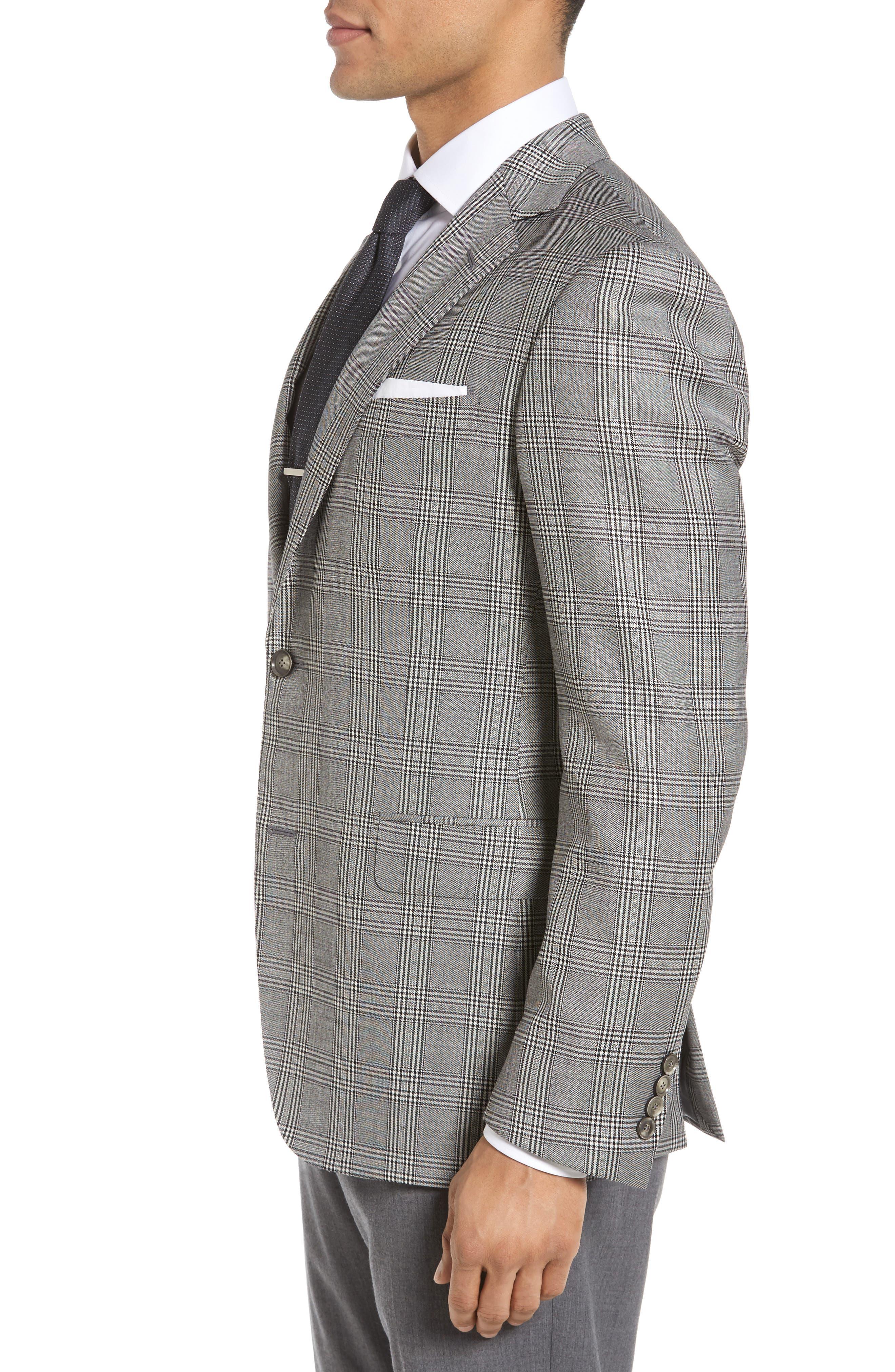 Classic Fit Plaid Wool Sport Coat,                             Alternate thumbnail 3, color,                             001