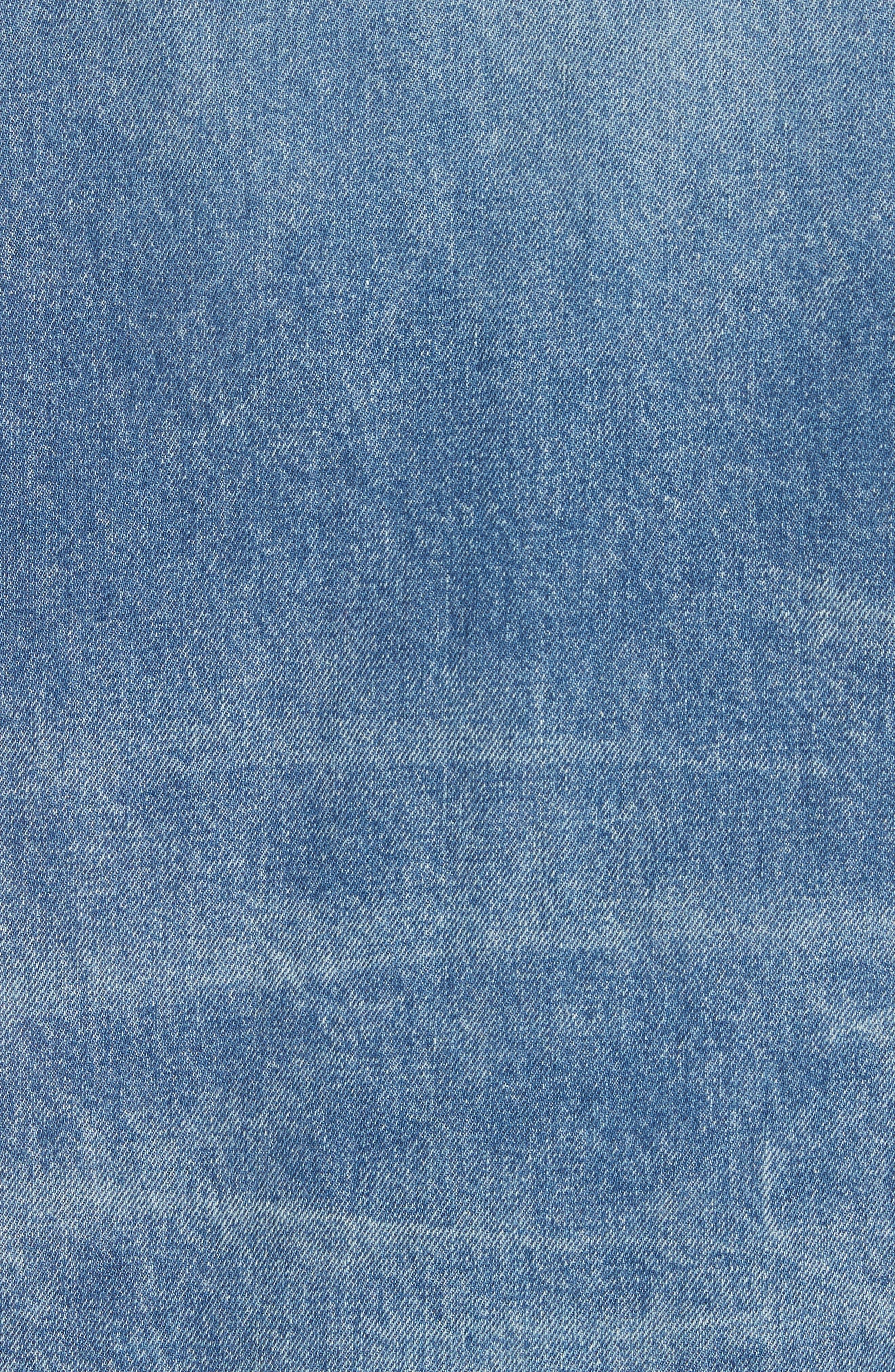 Oversized Cutoff Denim Jacket,                             Alternate thumbnail 6, color,                             400