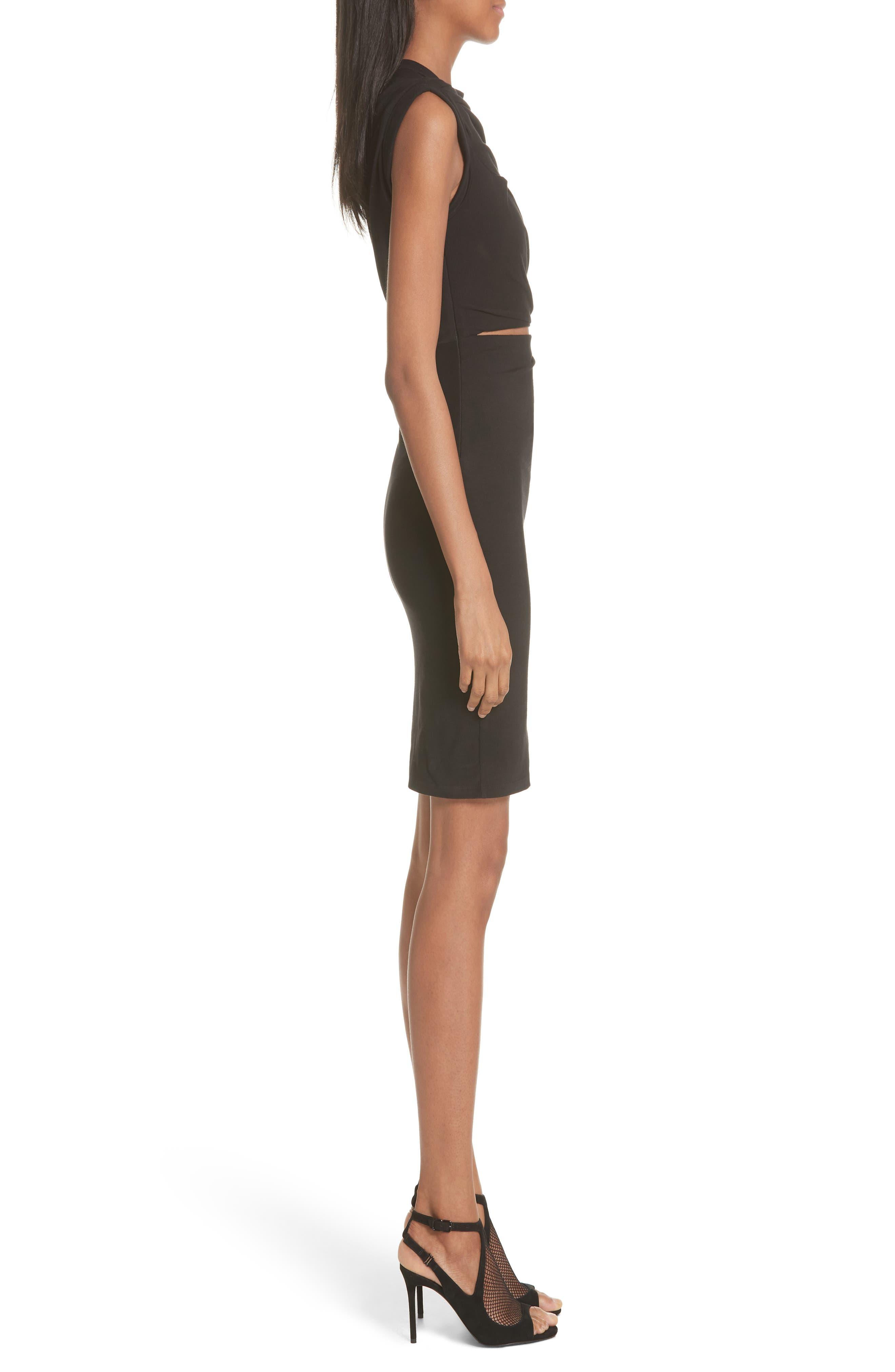 Keyhole Twist Compact Jersey Dress,                             Alternate thumbnail 3, color,                             BLACK