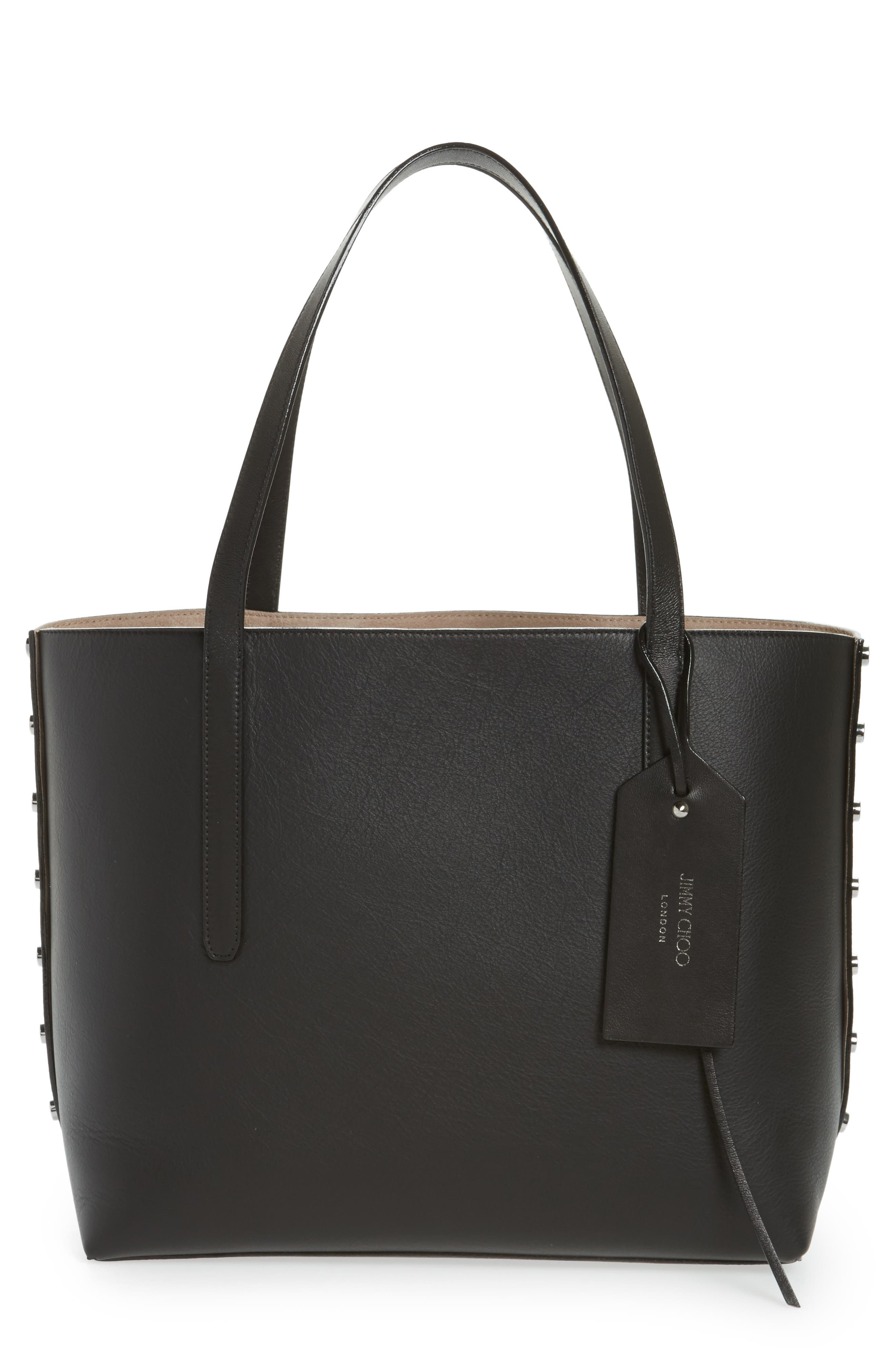 Twist Leather Tote,                         Main,                         color, 010