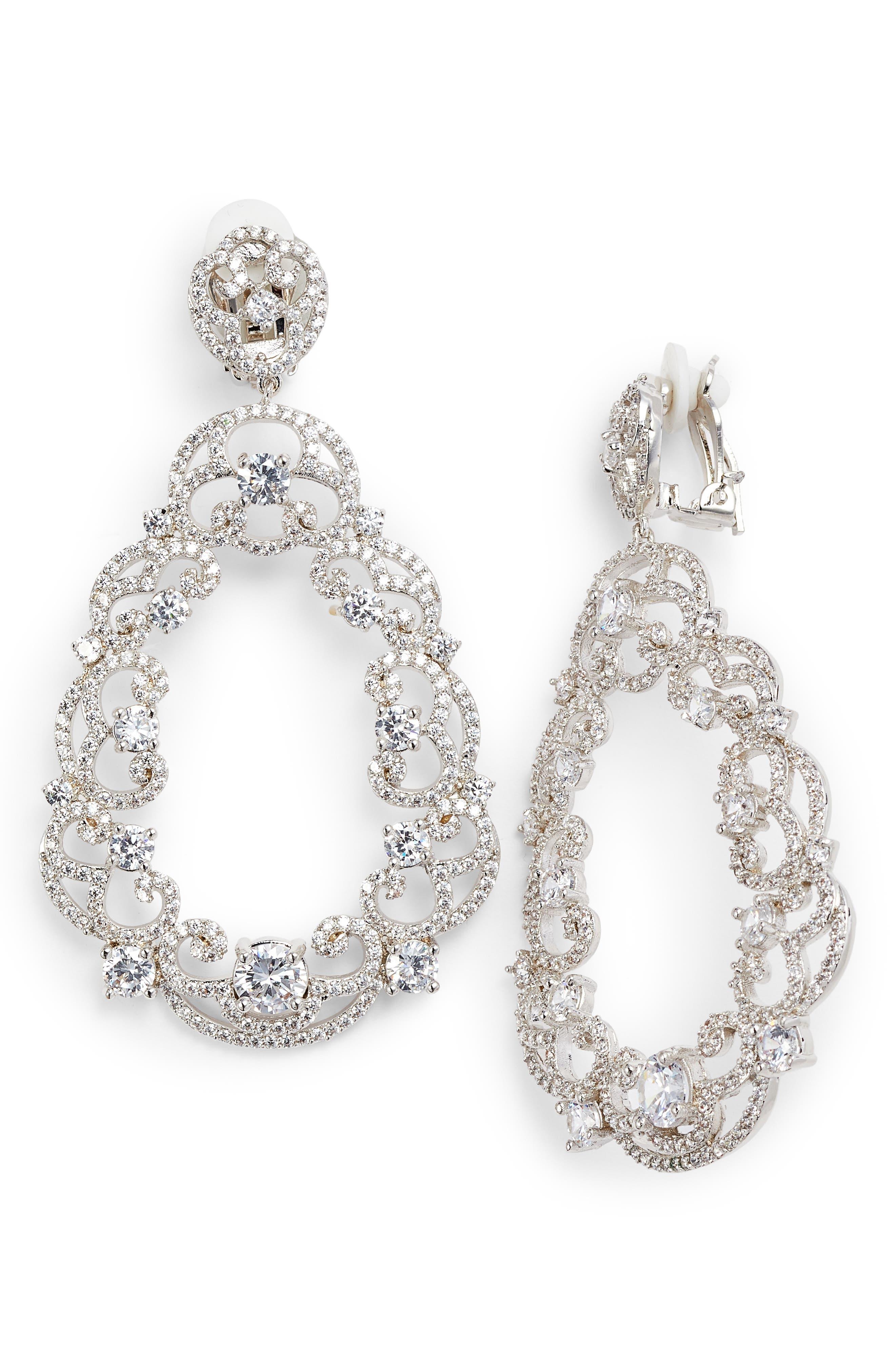 Scroll Pavé Earrings,                         Main,                         color, WHITE/ SILVER