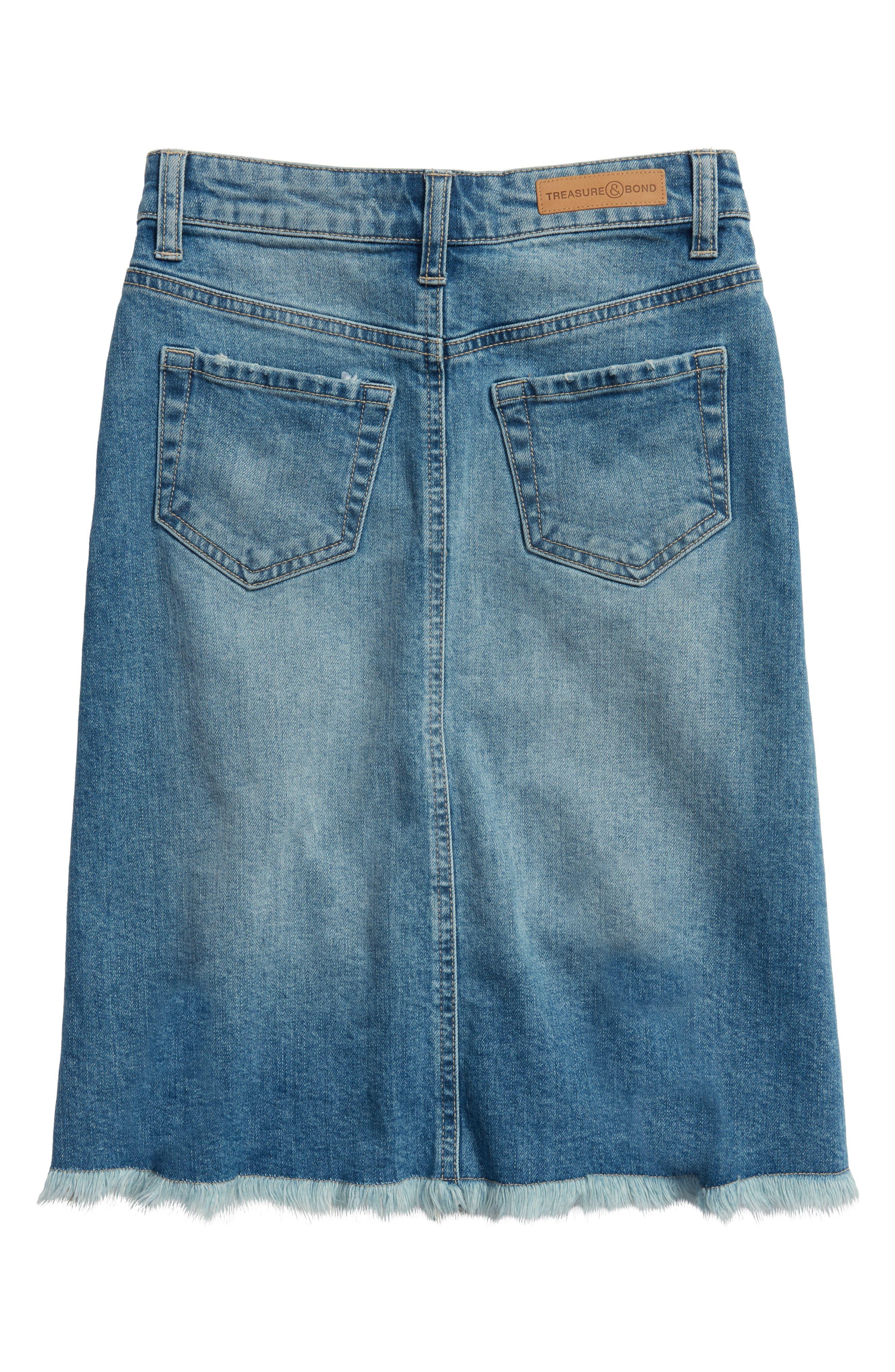 Step Hem Denim Skirt,                             Alternate thumbnail 2, color,                             HIDEAWAY WASH