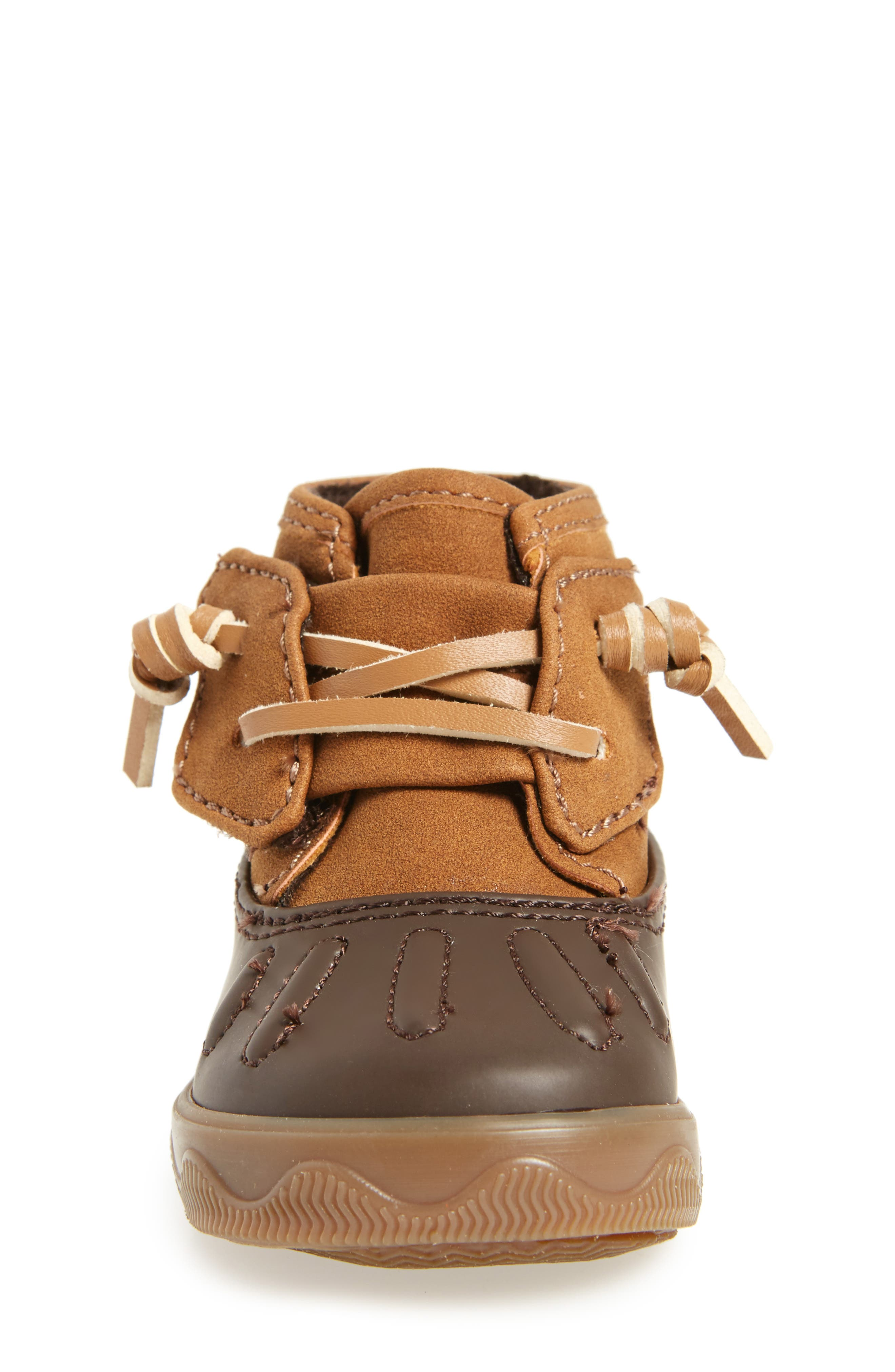 Sperry Icestorm Crib Duck Bootie,                             Alternate thumbnail 4, color,                             TAN/ BROWN