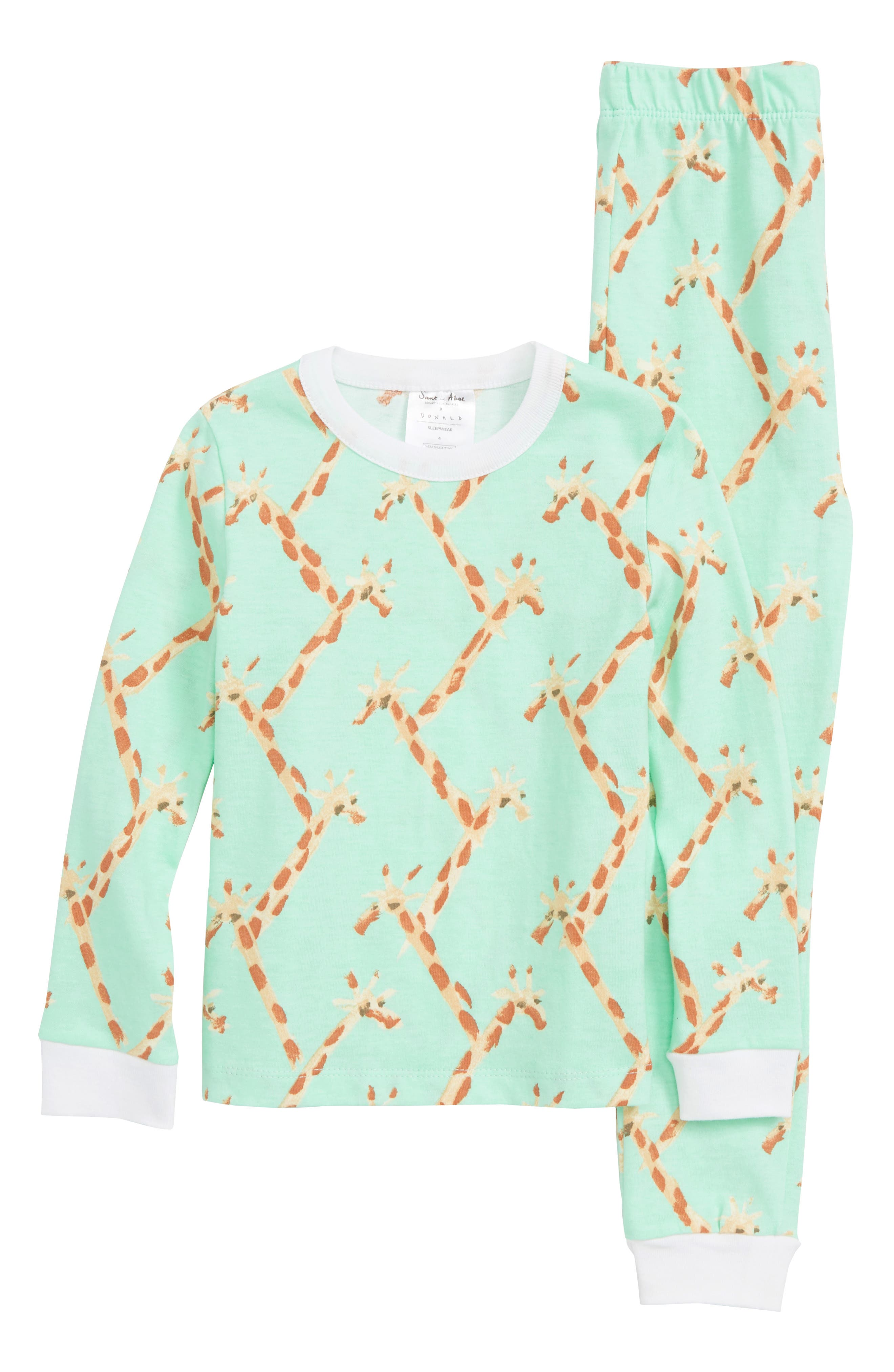 x Donald Robertson Giraffe Fitted Two-Piece Pajamas,                             Main thumbnail 1, color,                             300