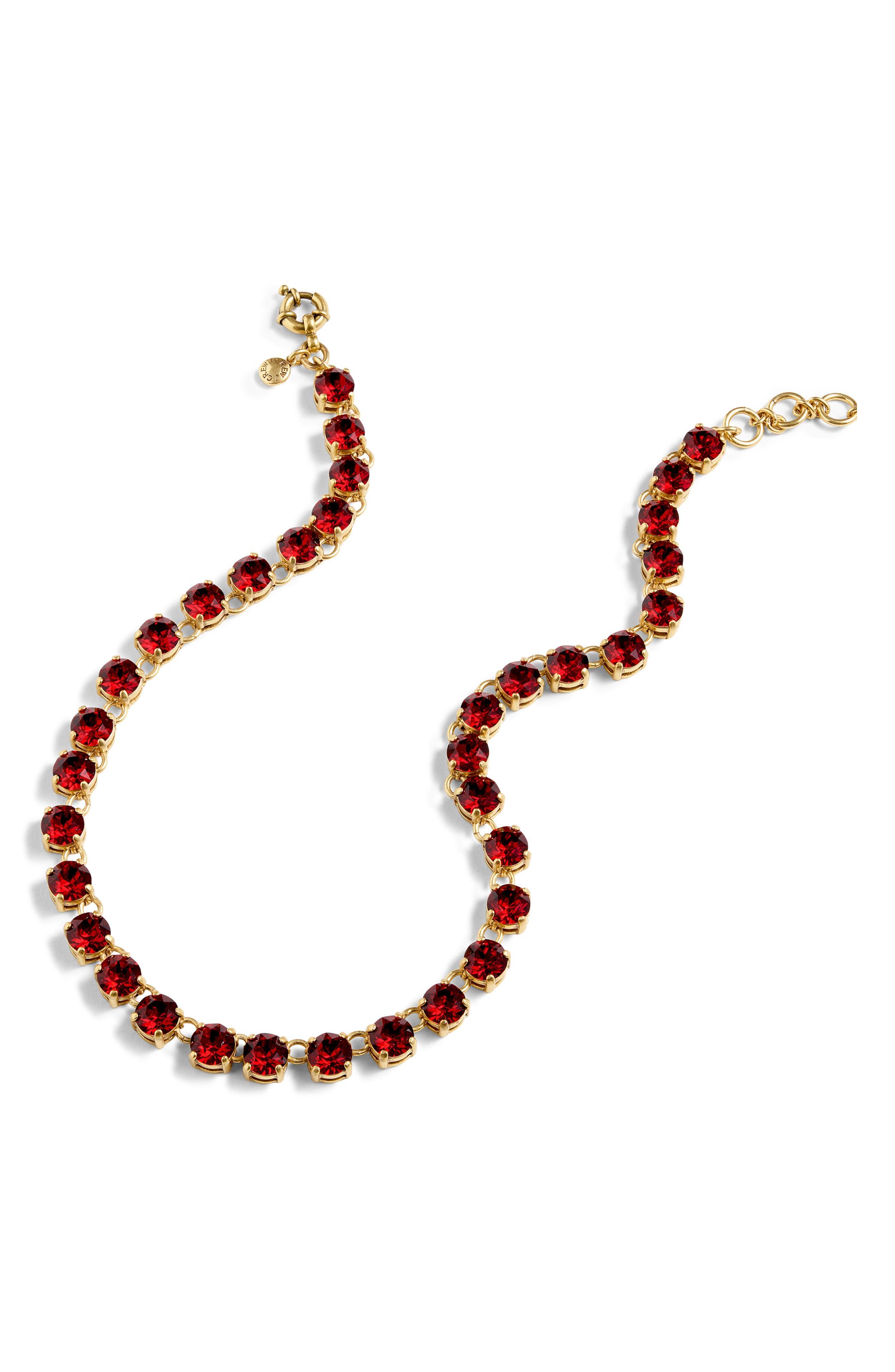 Swarovski Crystal Dot Necklace,                         Main,                         color, RUBY