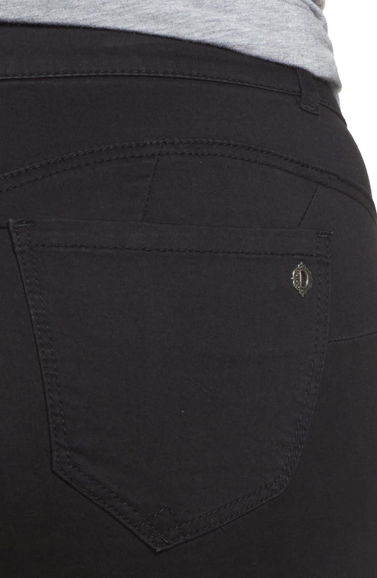 Ab-Solution Stretch Straight Leg Jeans,                             Alternate thumbnail 4, color,                             BLACK
