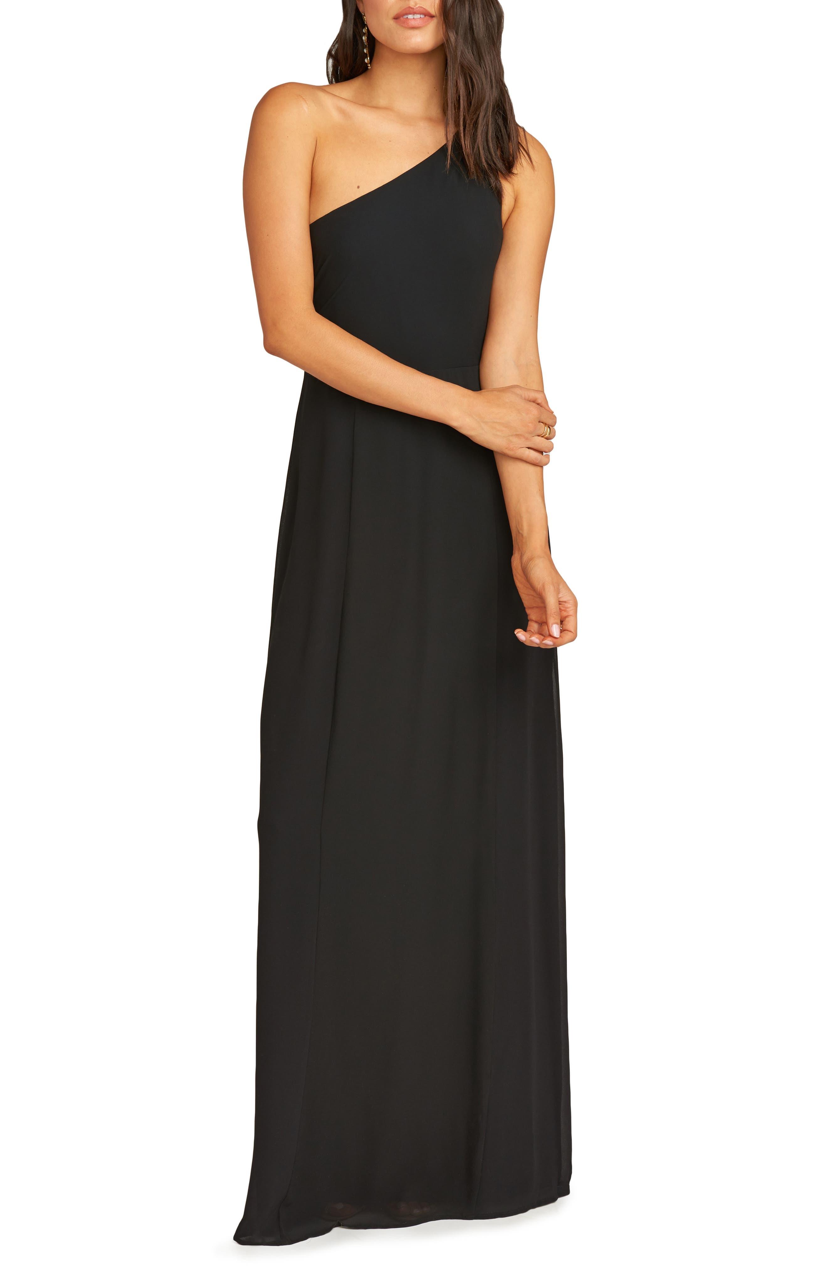 Show Me Your Mumu Eliza One-Shoulder Gown, Black
