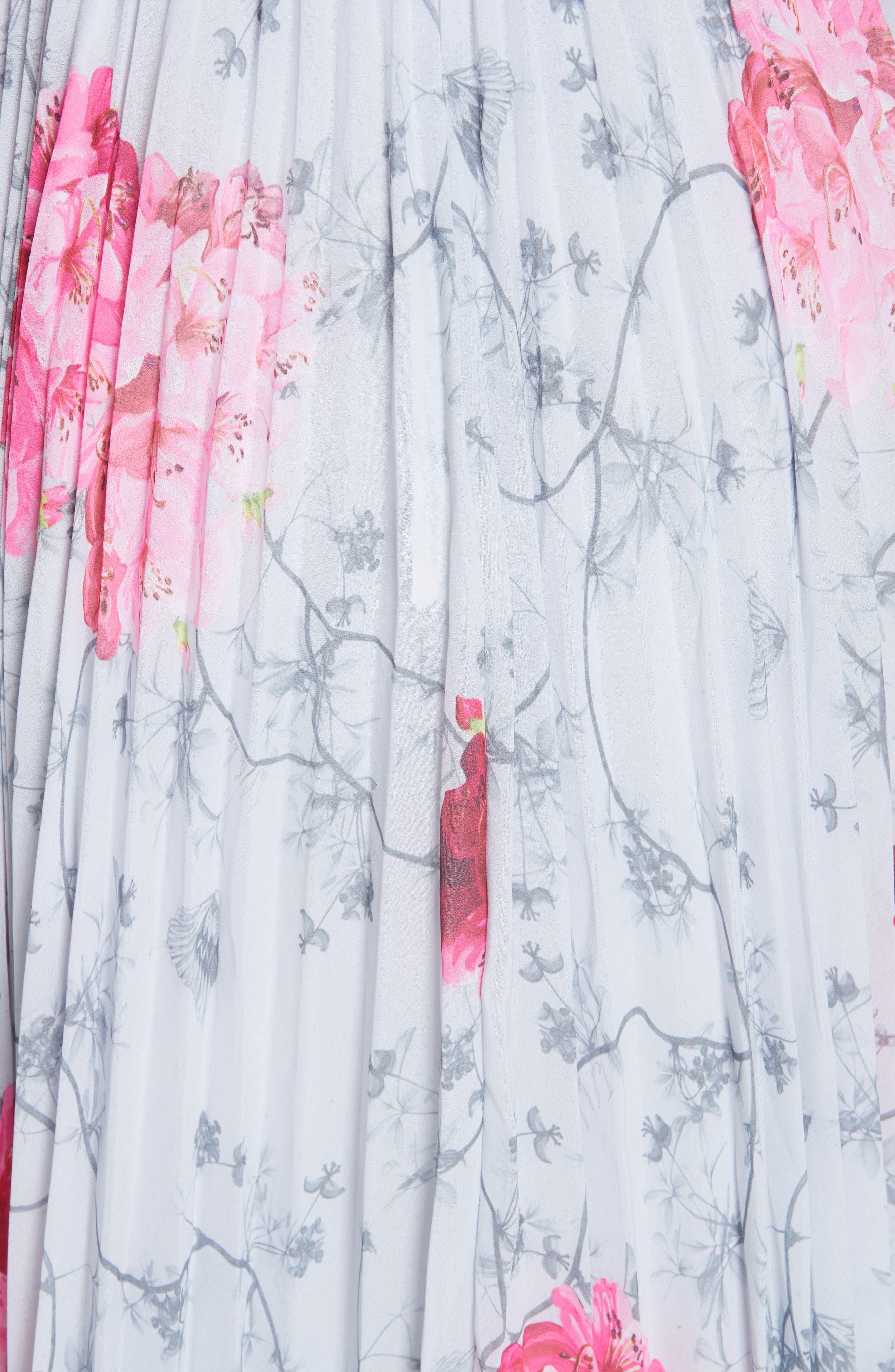 Babylon Pleat A-Line Dress,                             Alternate thumbnail 5, color,                             GREY