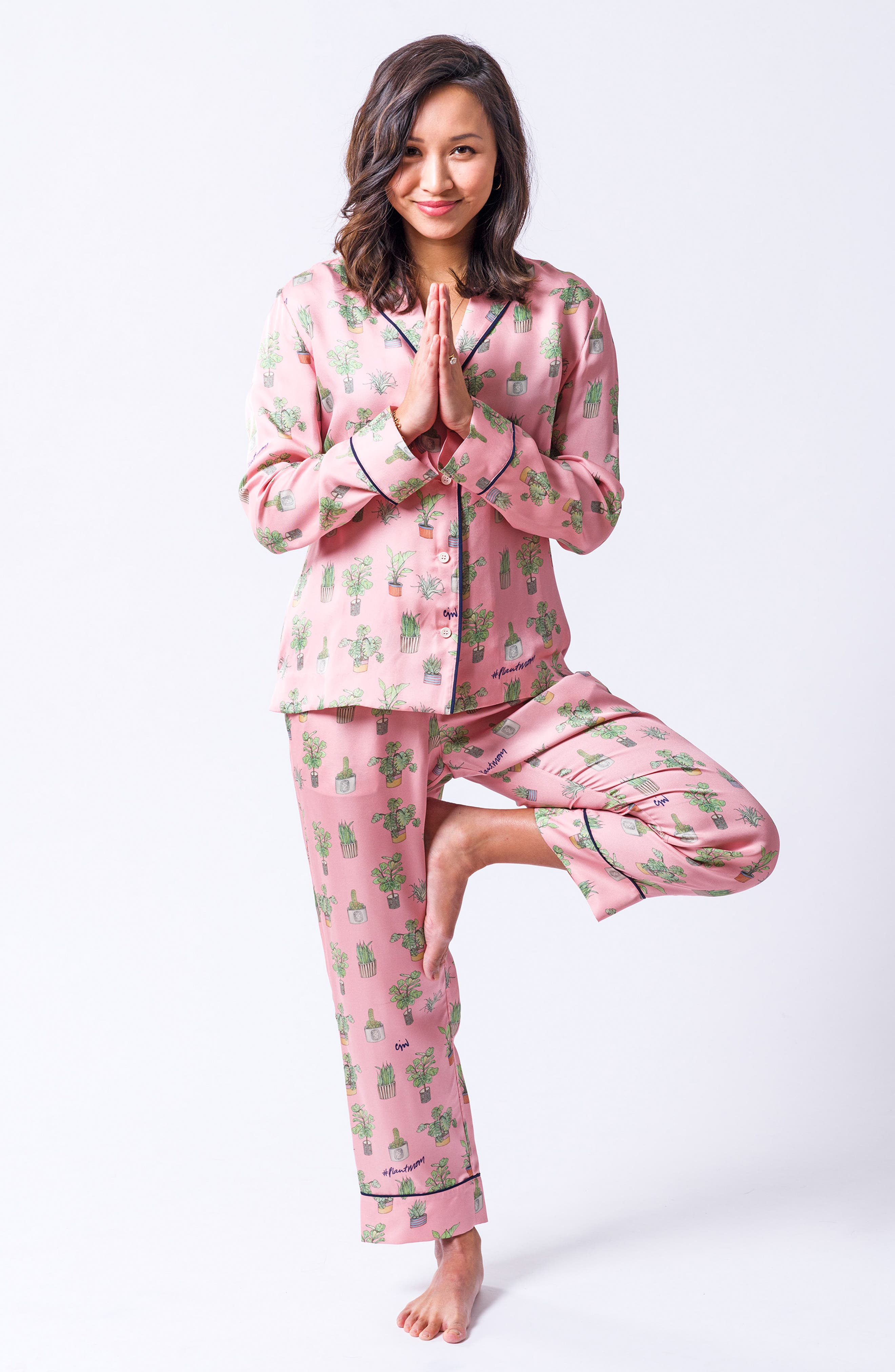 Plant Mom Silk Blend Pajamas & Eye Mask,                             Alternate thumbnail 7, color,                             650