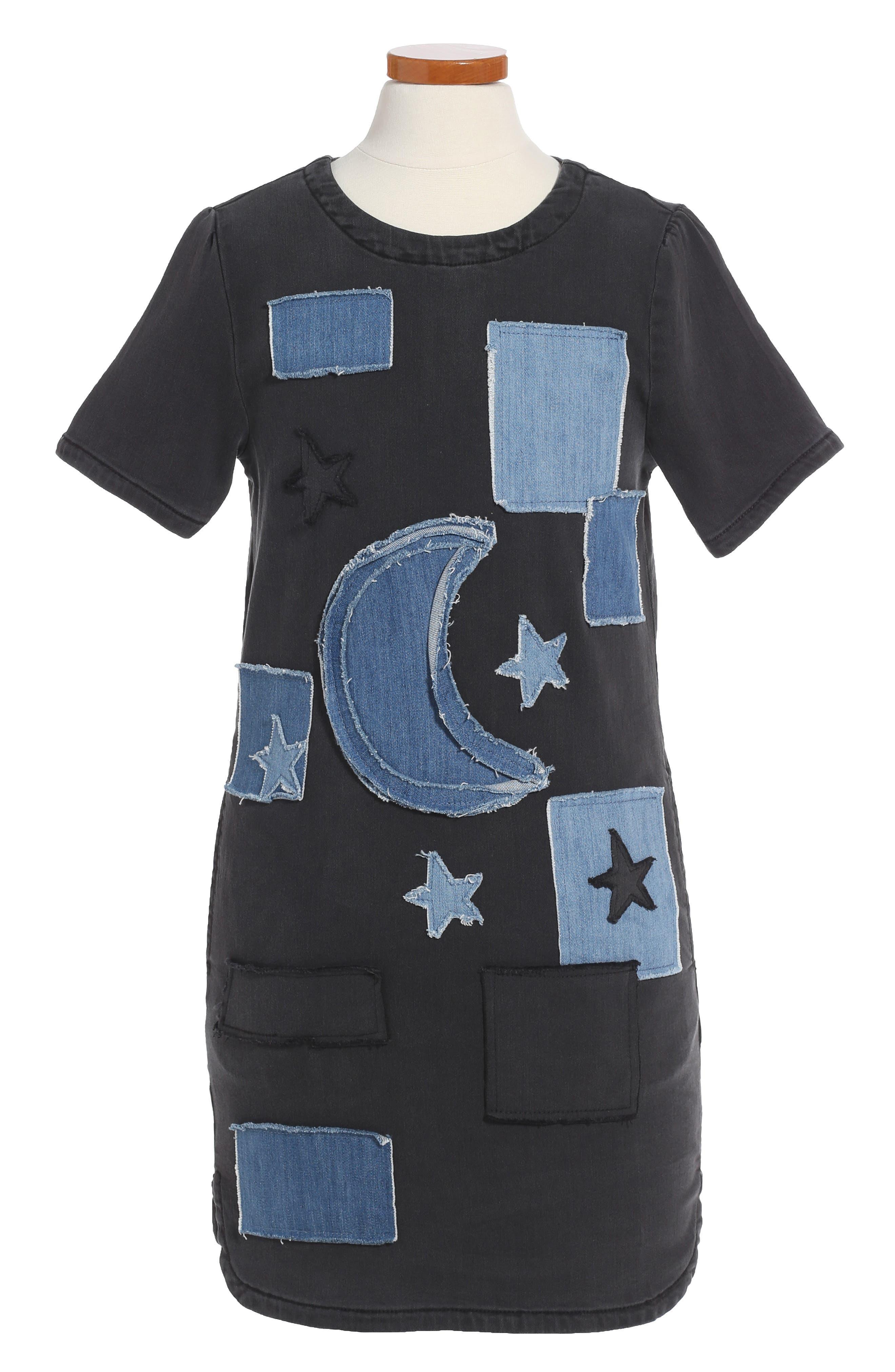 Kids Maude Denim Shift Dress,                         Main,                         color, 001