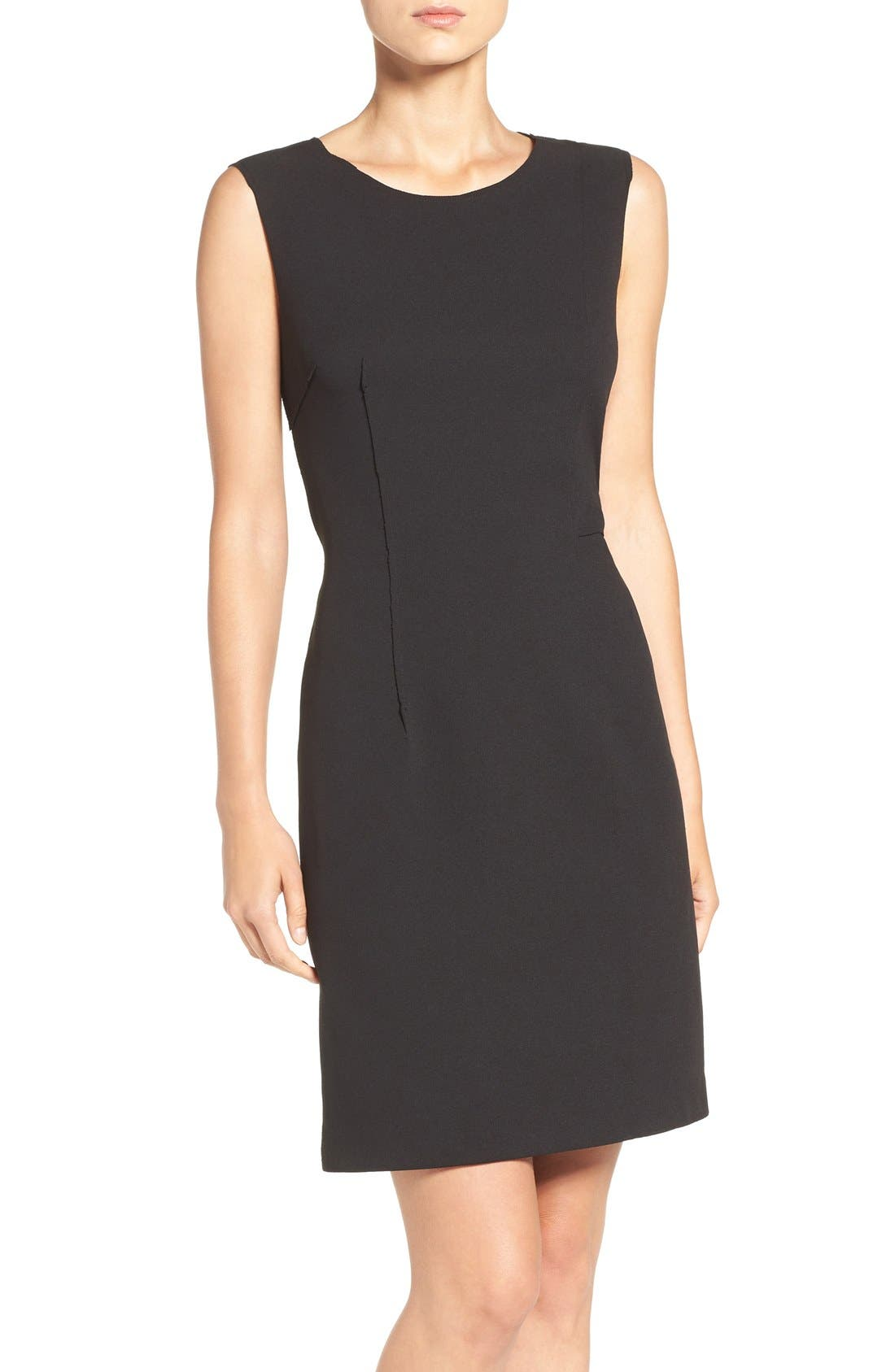 Scuba Crepe Sheath Dress,                             Main thumbnail 1, color,                             001