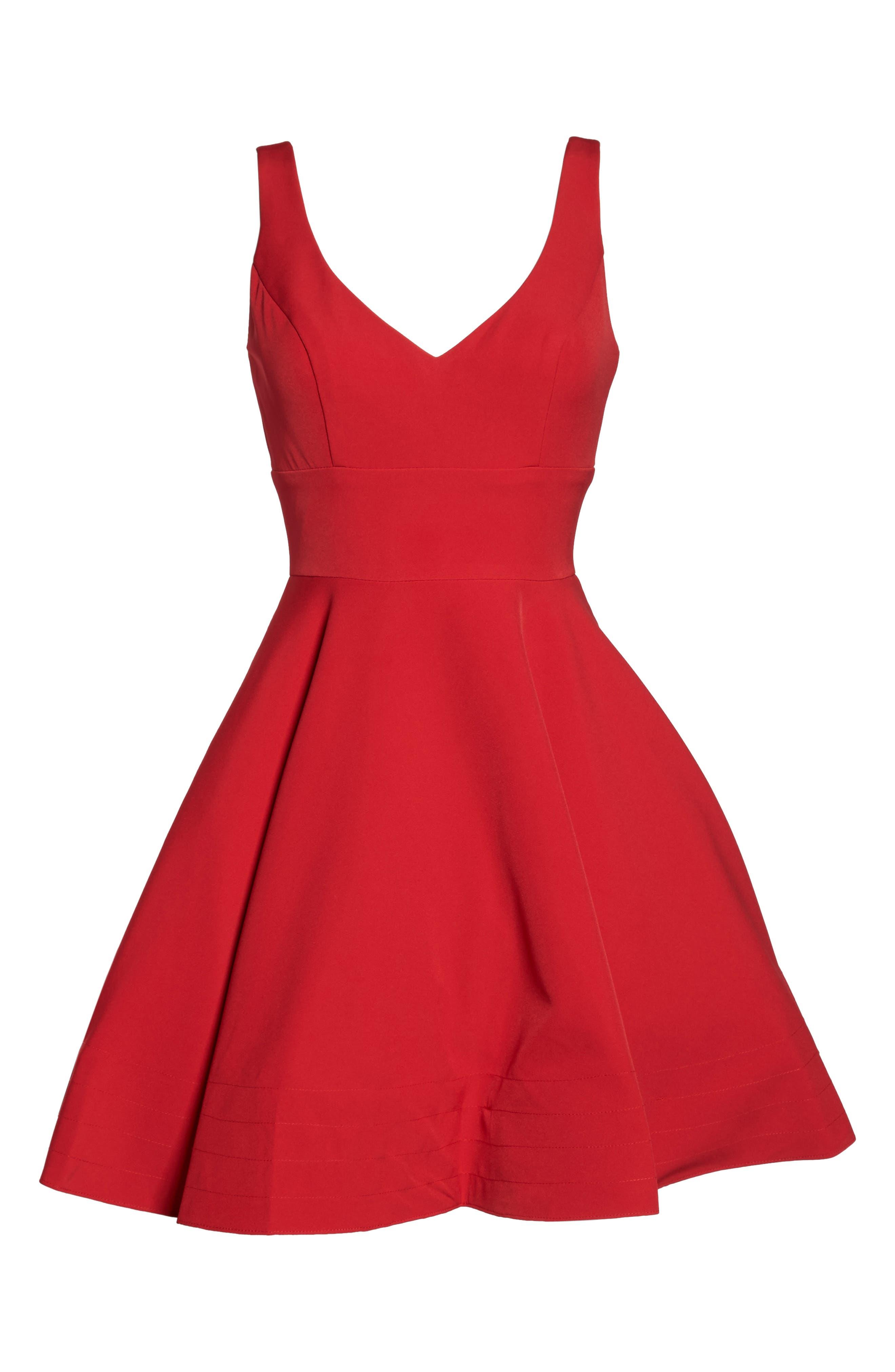 V-Neck Fit & Flare Dress,                             Alternate thumbnail 6, color,                             602