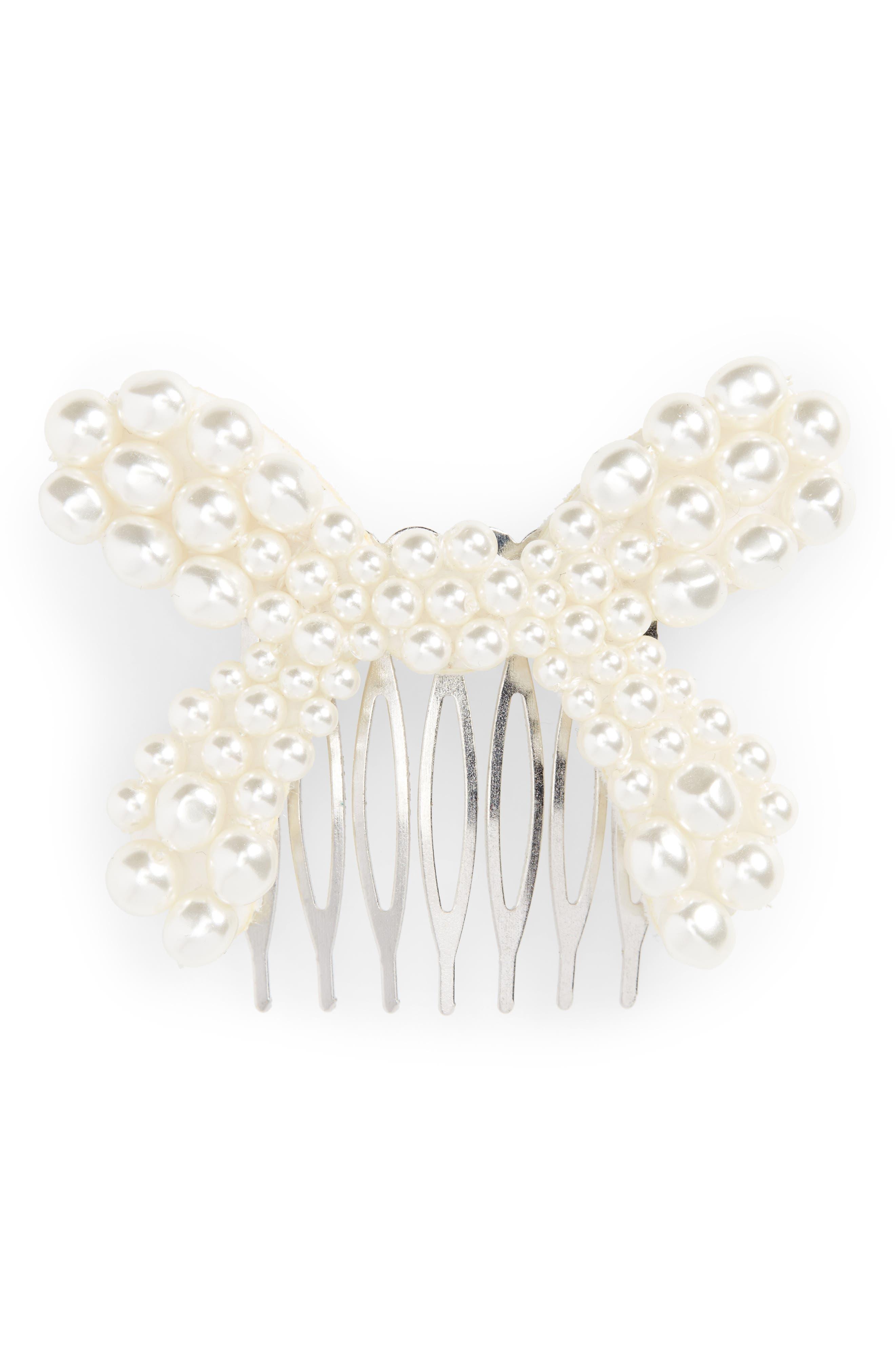 Imitation Pearl Bow Hair Comb,                         Main,                         color, PEARL