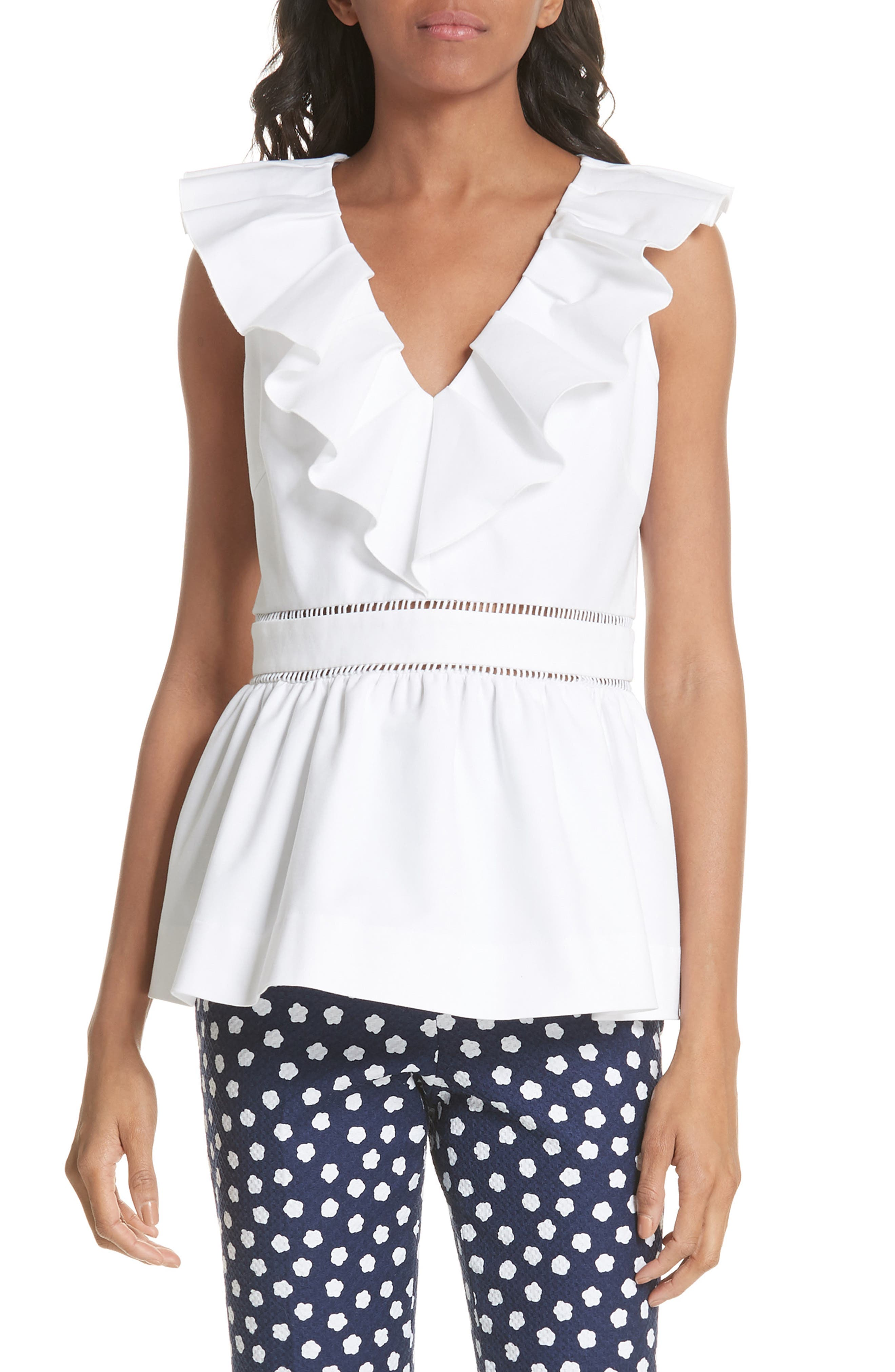 ruffle neck stretch cotton peplum blouse,                             Main thumbnail 2, color,