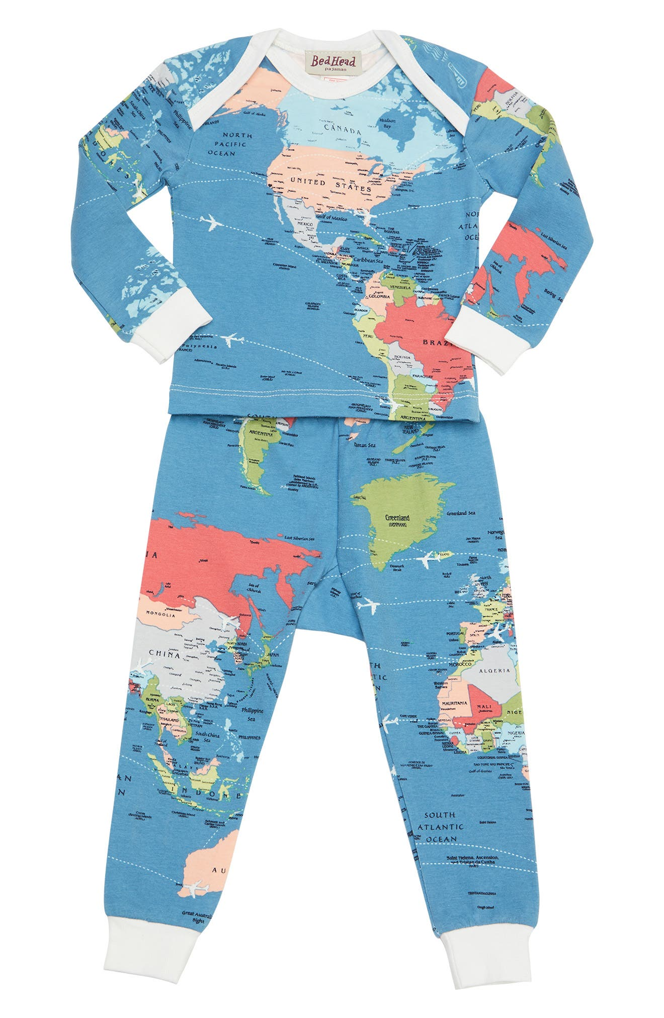 Fitted Two-Piece Pajamas,                         Main,                         color, DARK BLUE AROUND WORLD